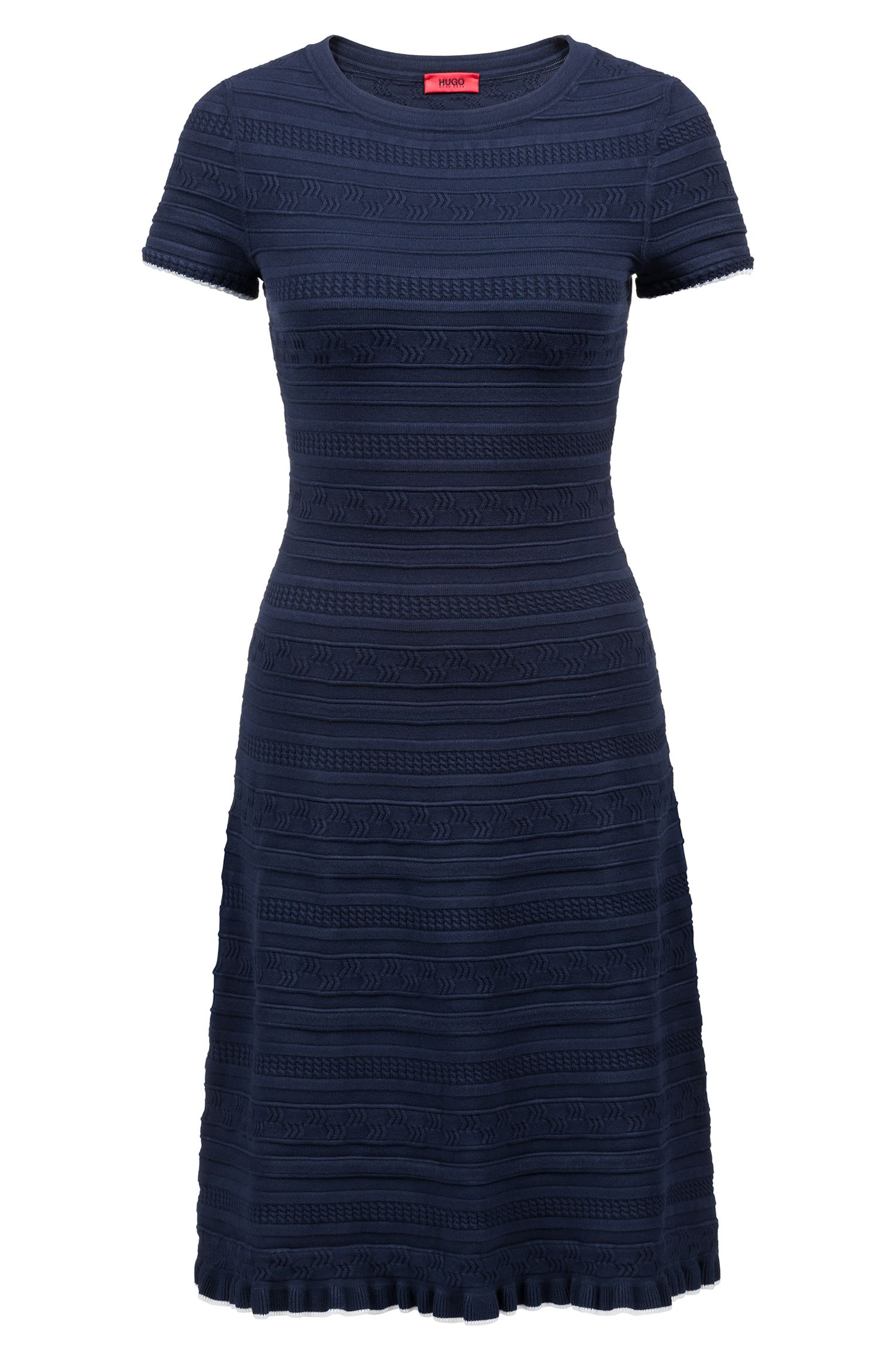 Knitted flared dress with three-dimensional structure, Dark Blue