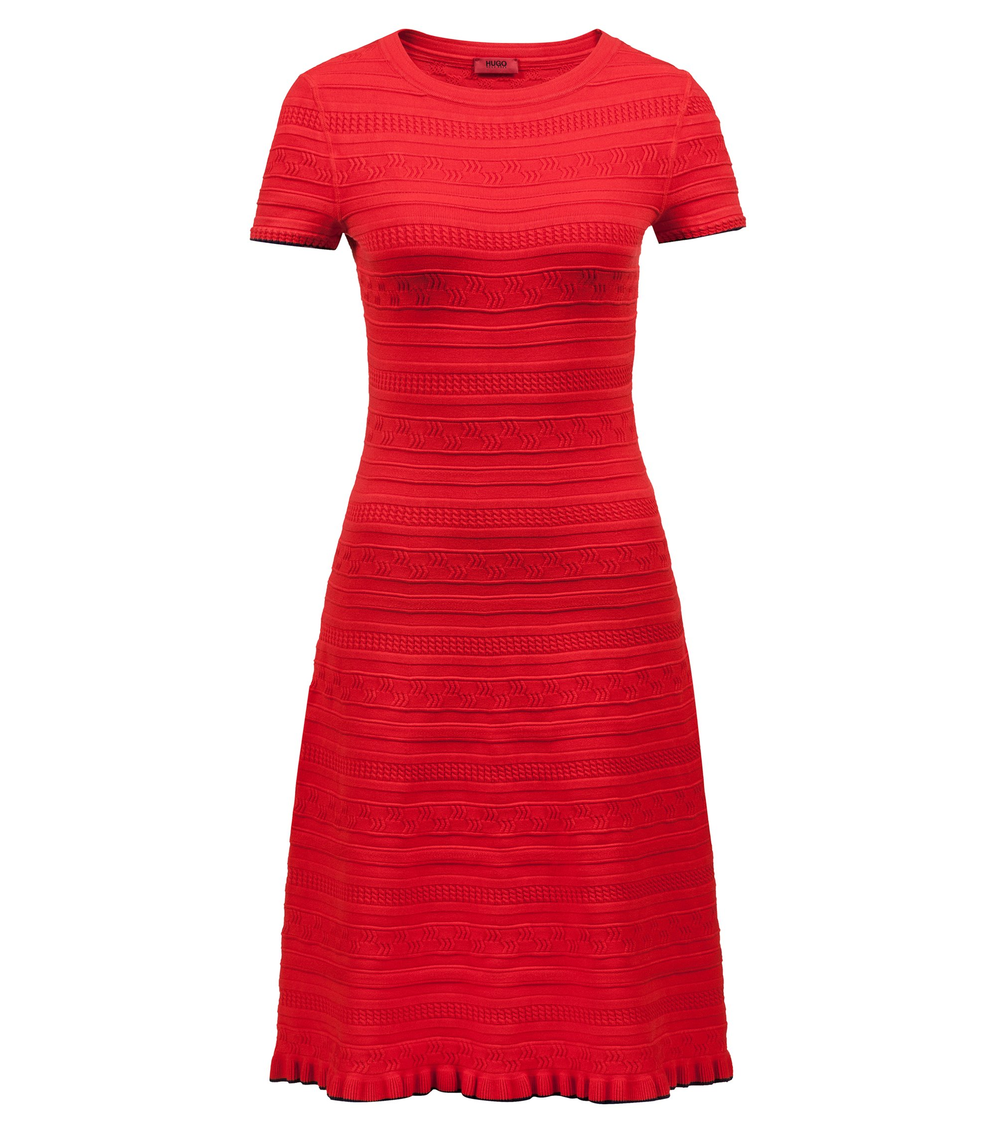 Knitted flared dress with three-dimensional structure, Red