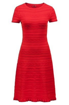 Cheap Collections Hugo Boss Knitted flared dress three-dimensional structure XS Open Blue HUGO BOSS From China Cheap Best Free Shipping Hot Sale gDesvUI3