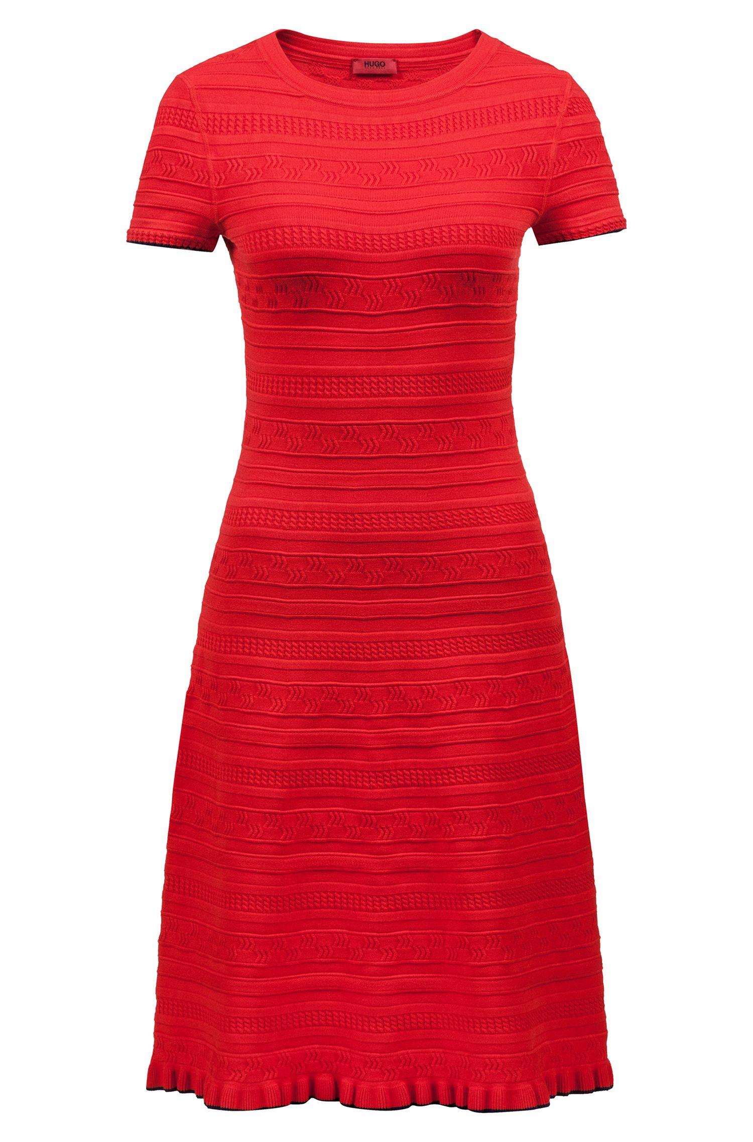 Uitlopende, gebreide jurk met driedimensionale structuur, Rood
