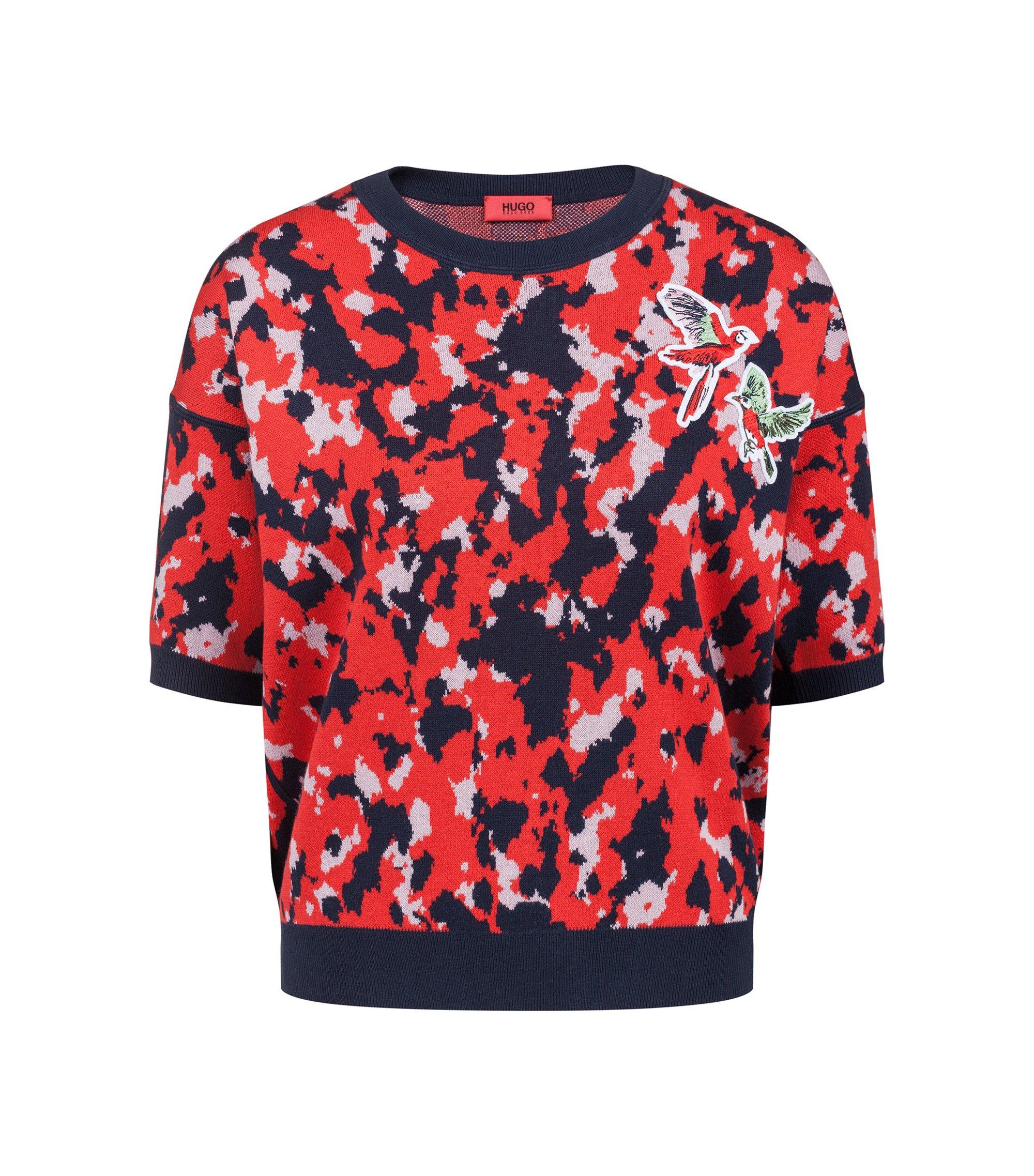 Pullover mit Camouflage-Muster und Vogel-Applikation, Gemustert