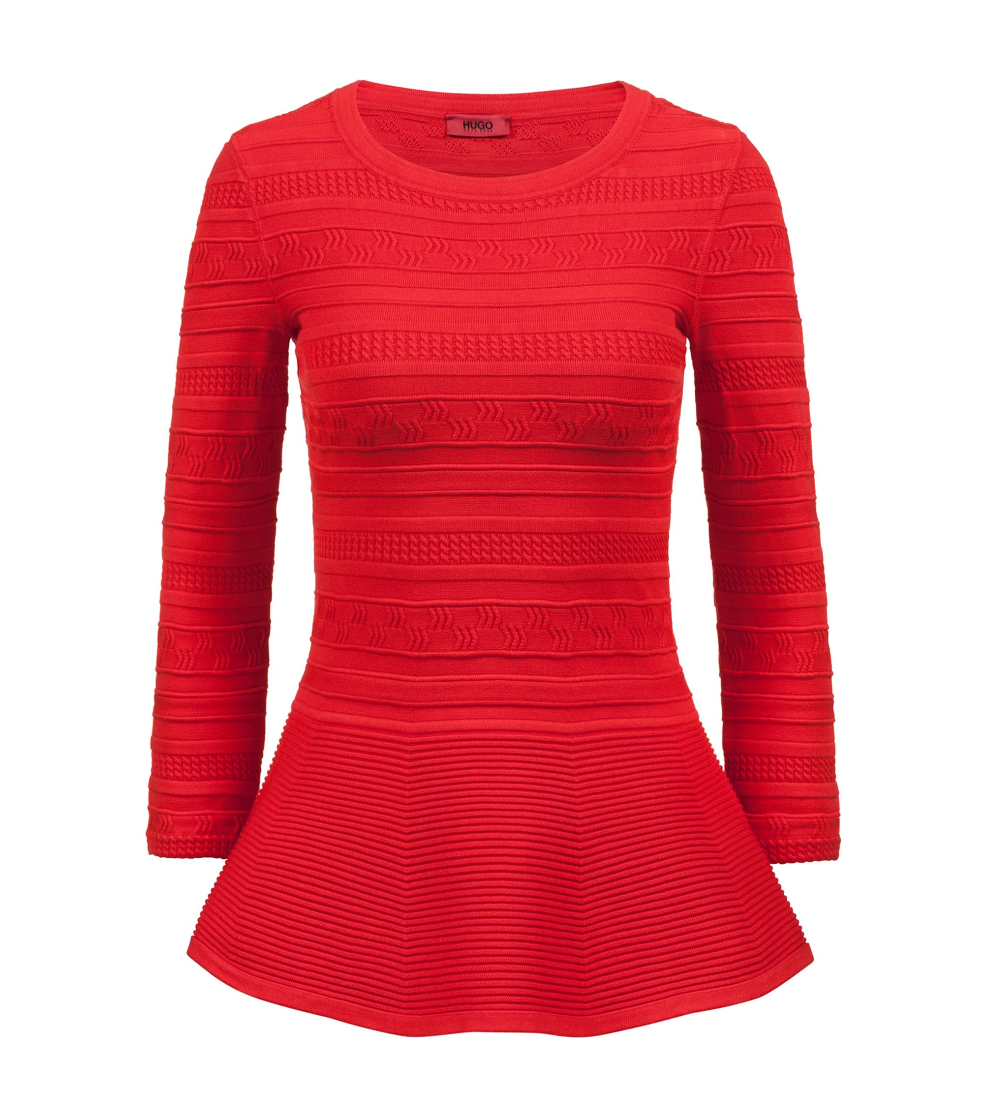 Pull à basque en fil ultra stretch, Rouge