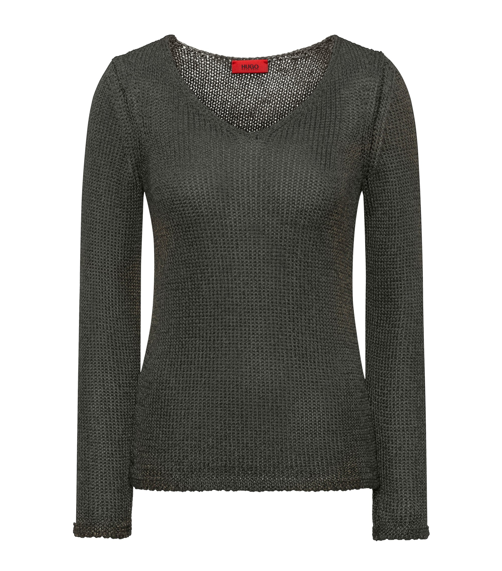 V-neck sweater in shimmer-effect tape yarn, Green