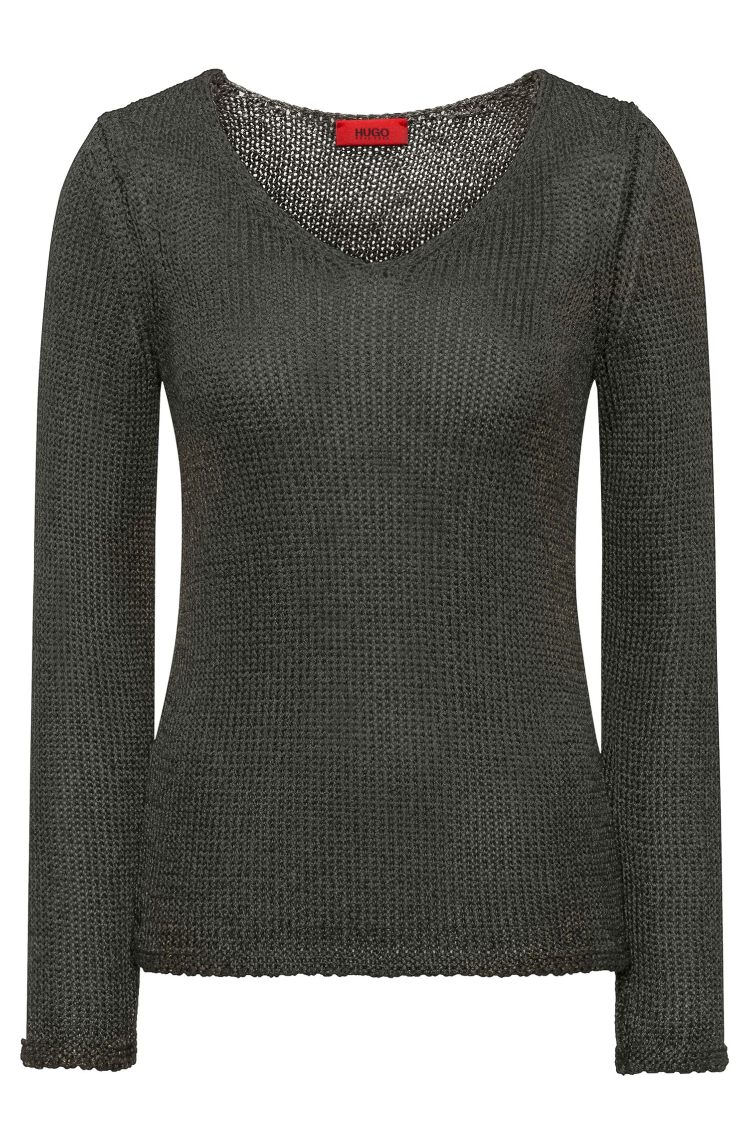 V-neck sweater in shimmer-effect tape yarn