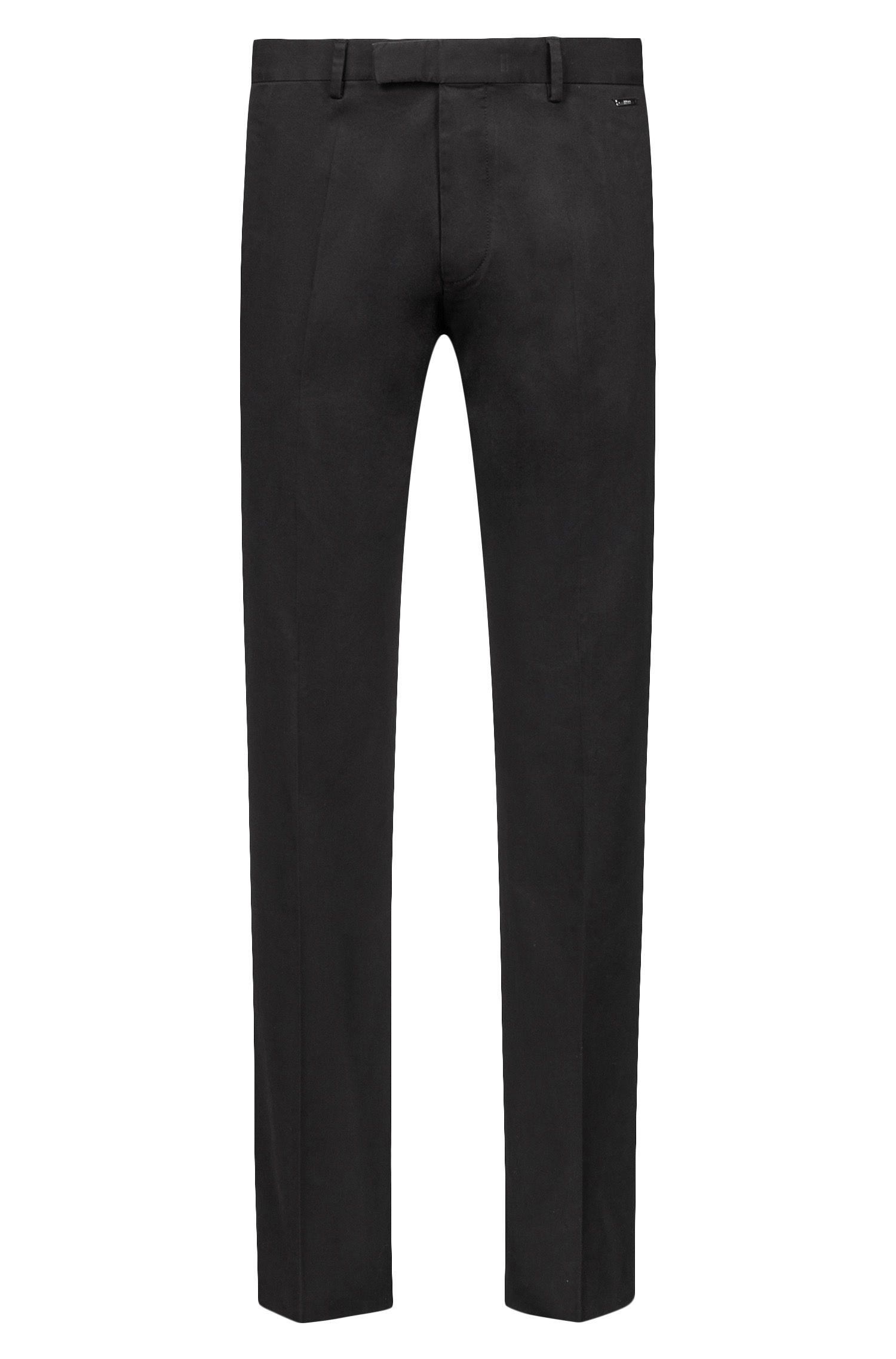 Regular-Fit Hose aus gewaschener Stretch-Baumwolle, Schwarz