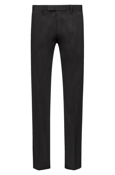 Regular-fit trousers in washed stretch cotton, Black