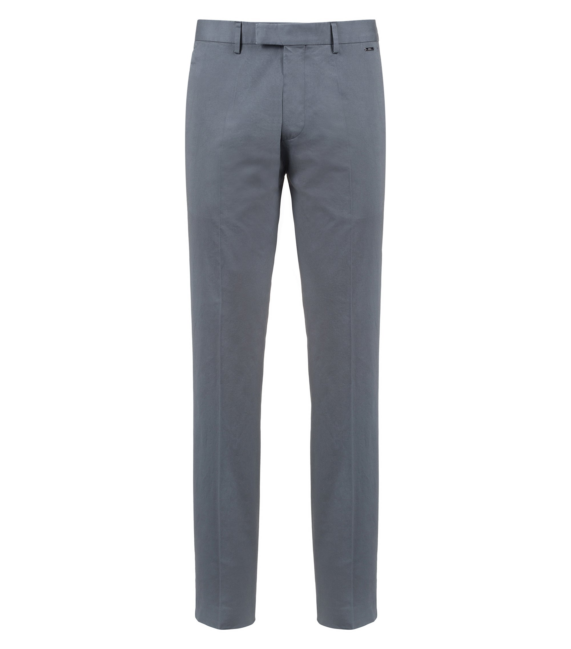 Pantalon Regular Fit en coton stretch lavé, Gris sombre