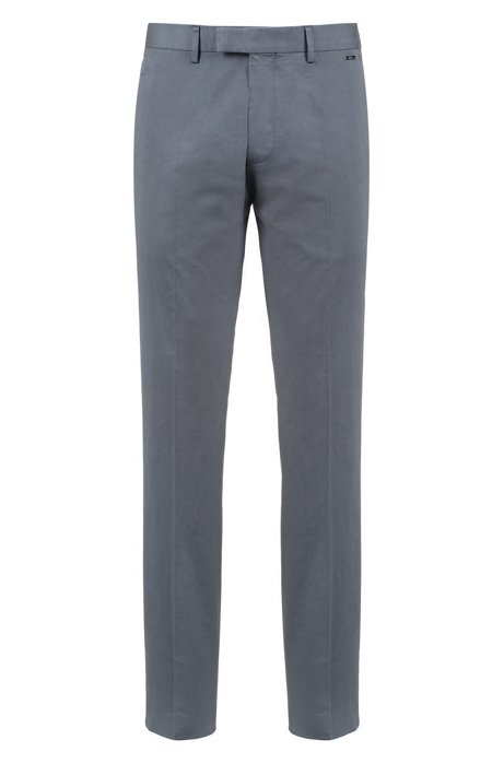 Regular-fit trousers in washed stretch cotton, Dark Grey
