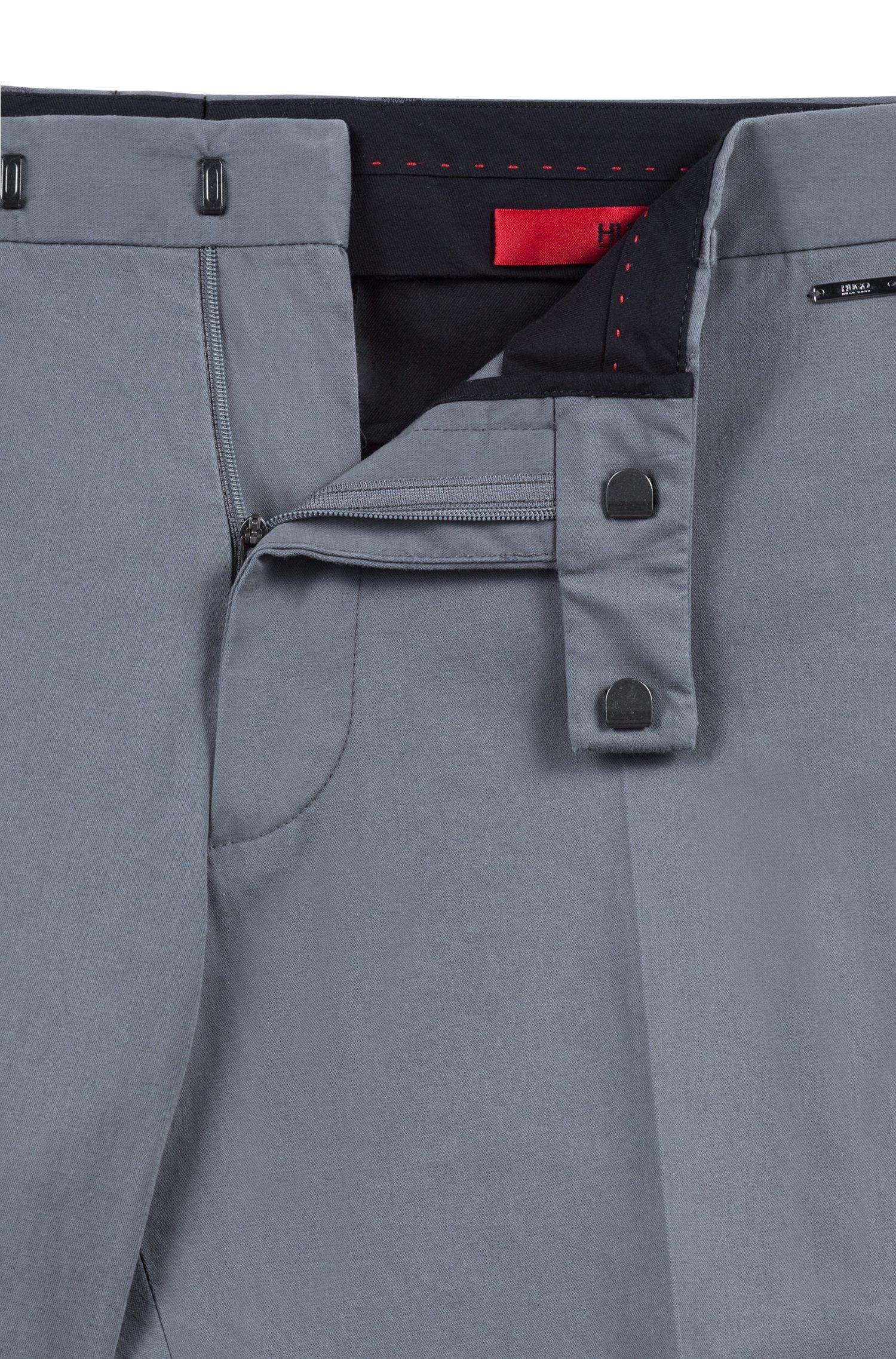 Regular-Fit Hose aus gewaschener Stretch-Baumwolle, Dunkelgrau