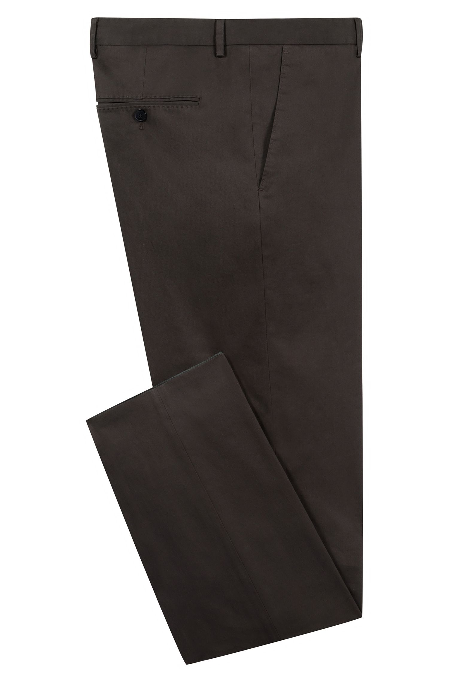 Regular-fit trousers in washed stretch cotton, Dark Green
