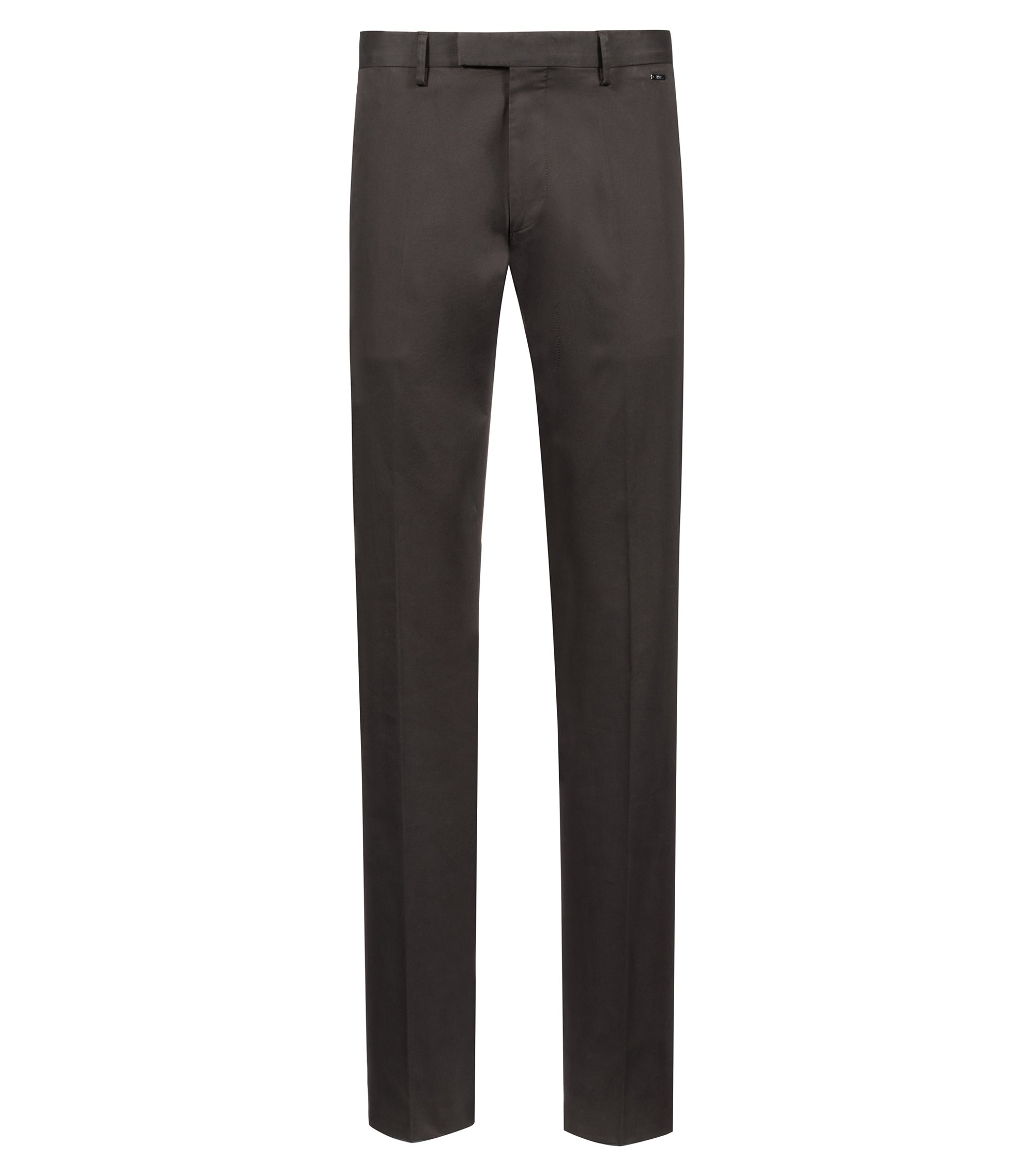 Pantalon Regular Fit en coton stretch lavé, Vert sombre