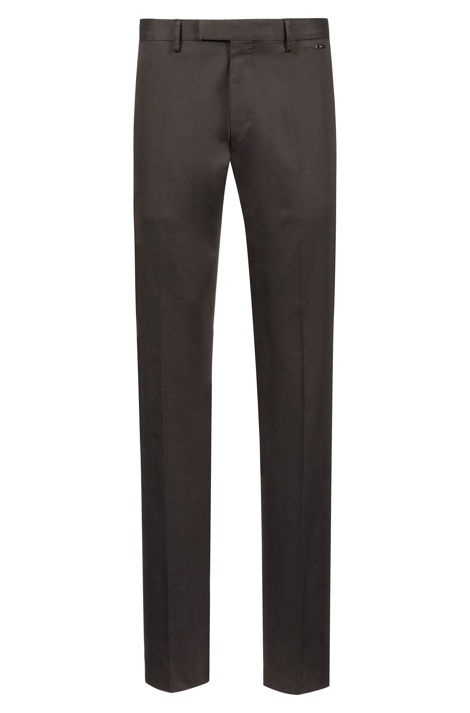 Regular-fit trousers in washed stretch cotton