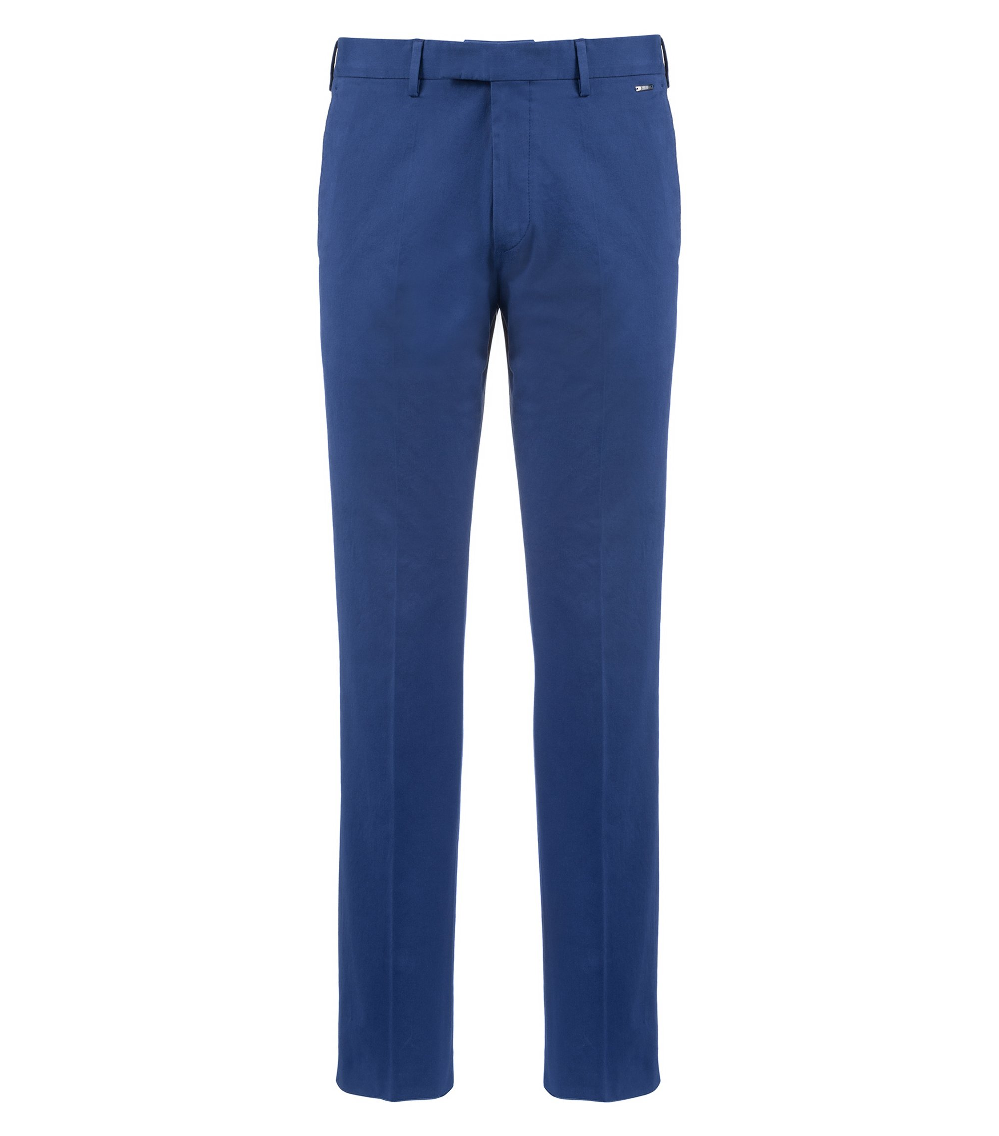 Regular-fit trousers in washed stretch cotton, Dark Blue