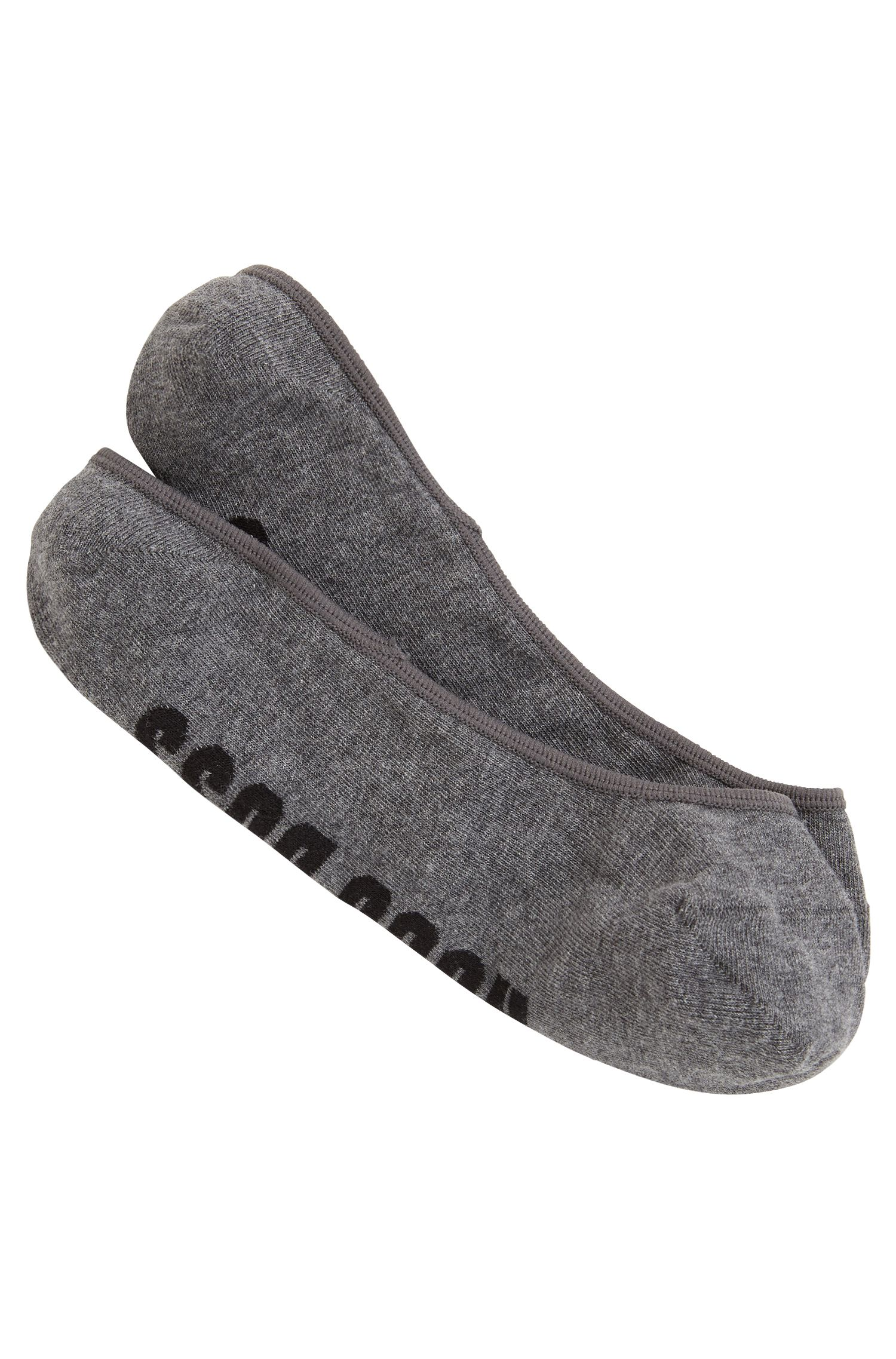 Invisible socks in a combed cotton blend, Grey