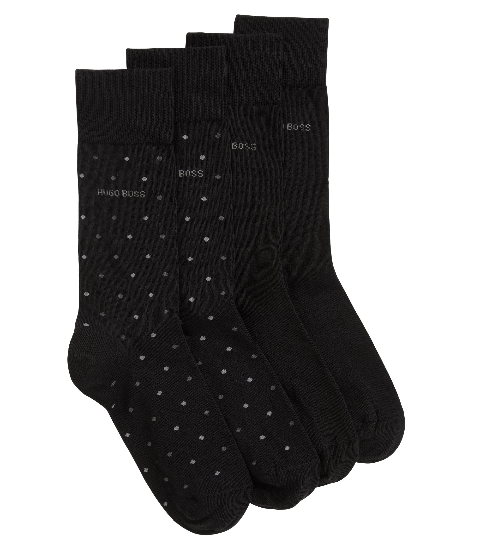 Two-pack of regular-length socks with pressure-free toes, Black