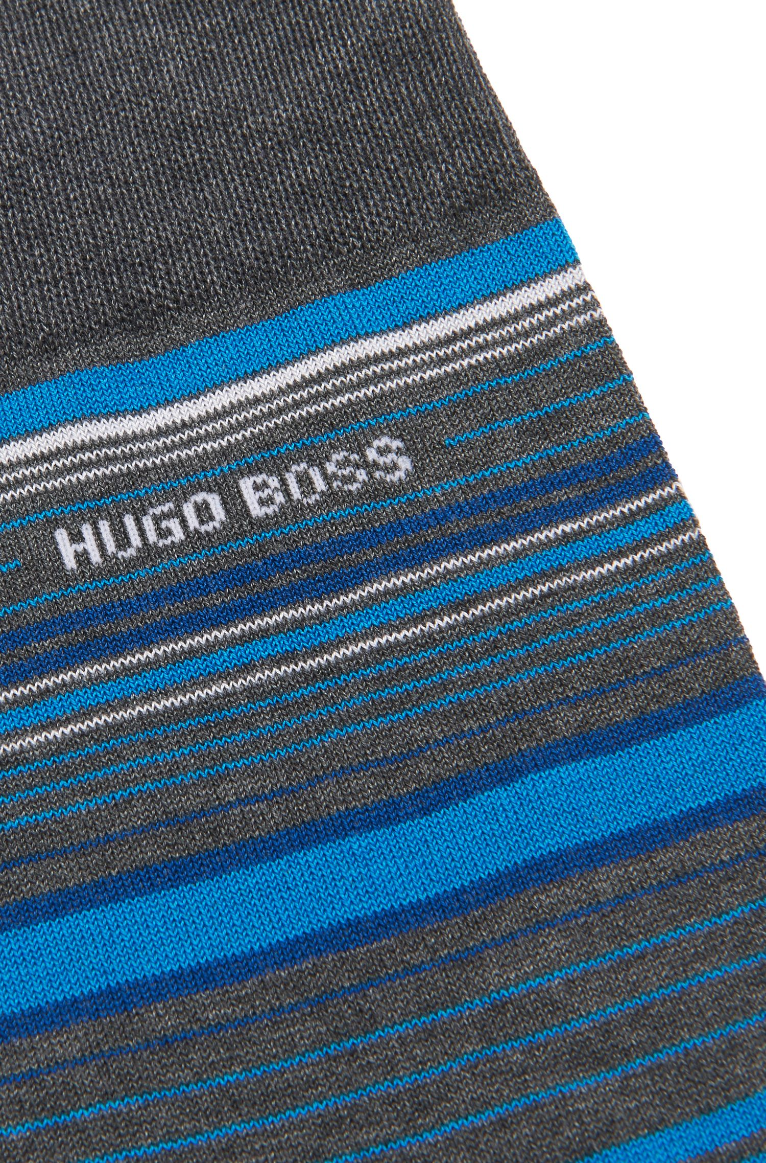 Striped socks in a mercerised cotton blend, Grey