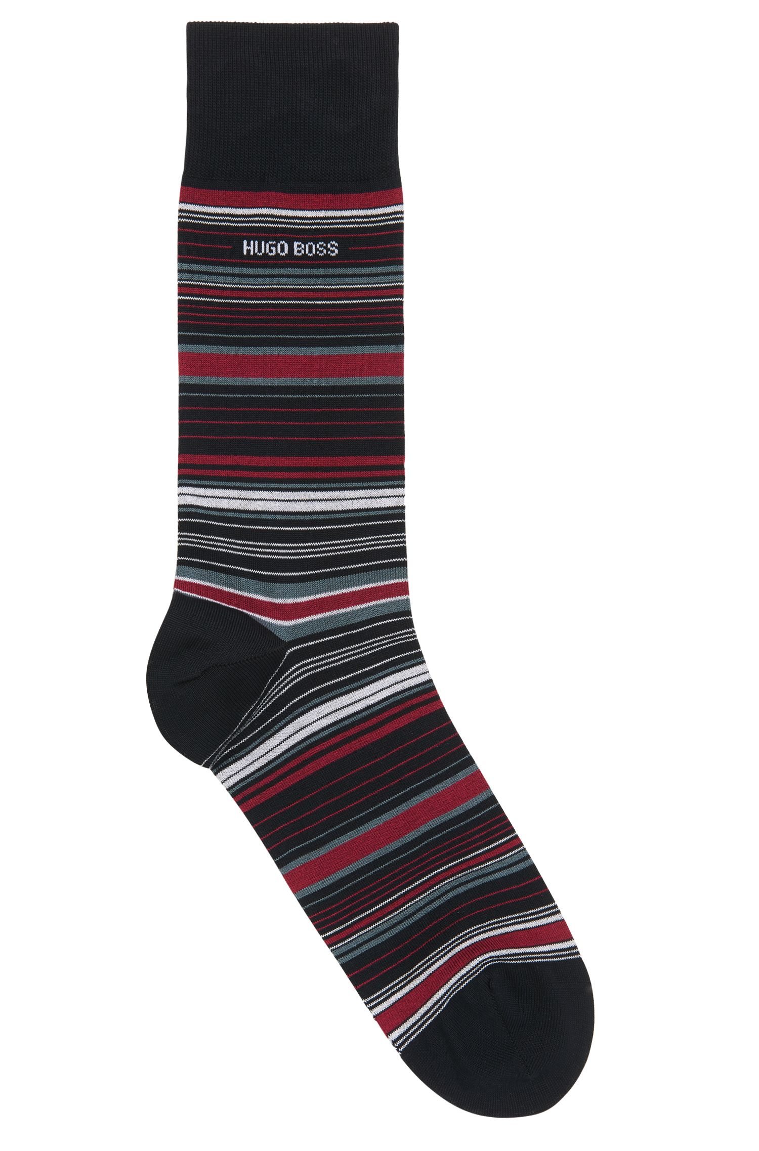 Striped socks in a mercerised cotton blend