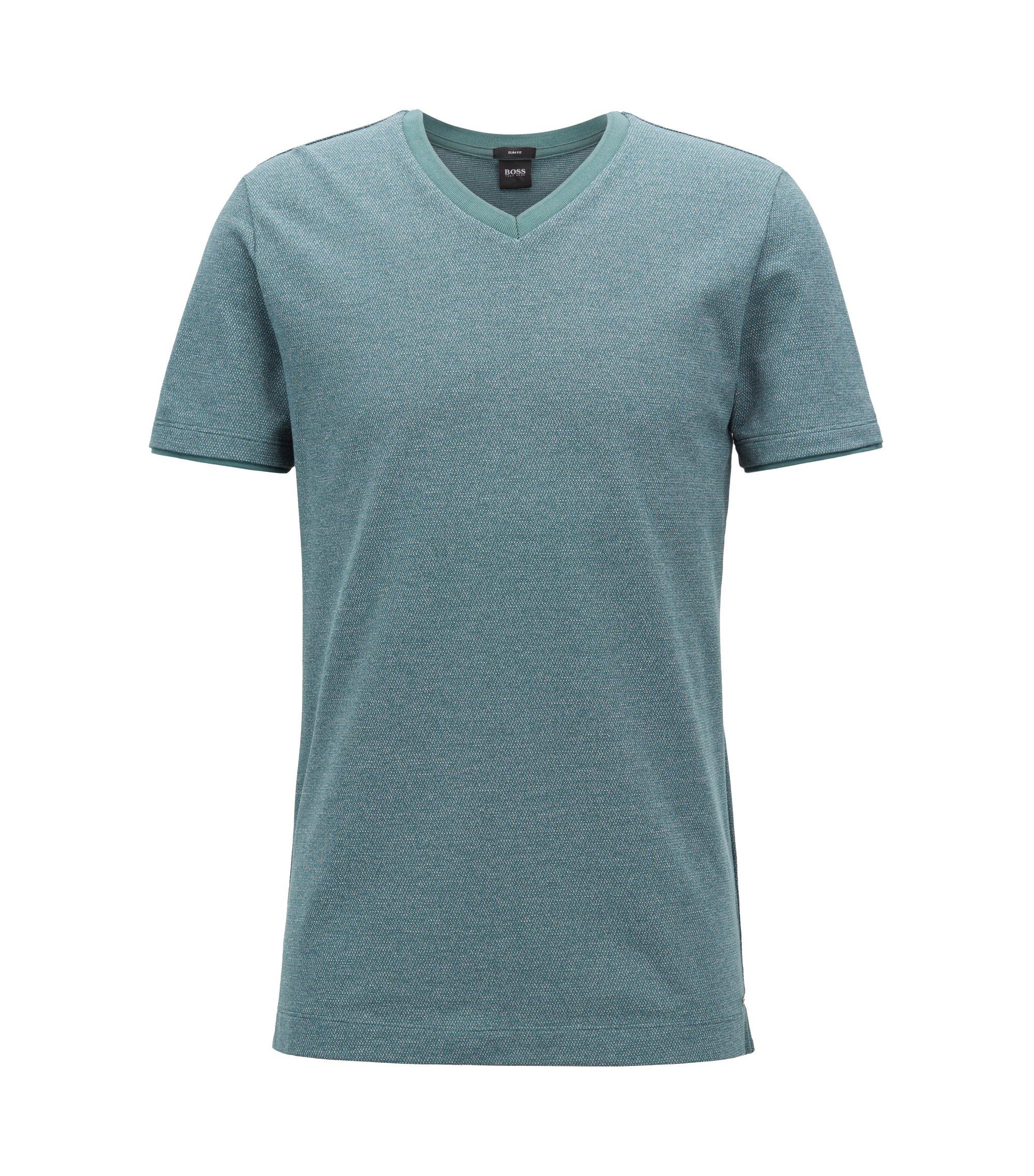 T-shirt à col V en coton mouliné tissé-teint, Vert sombre