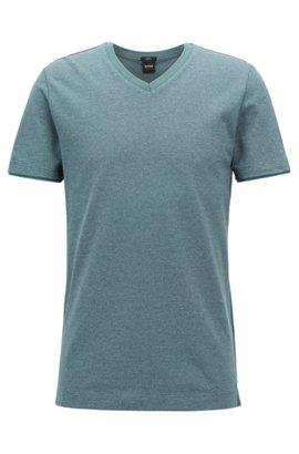 HUGO BOSS T-shirt à col V en coton mouliné tissé-teint iIWTDM
