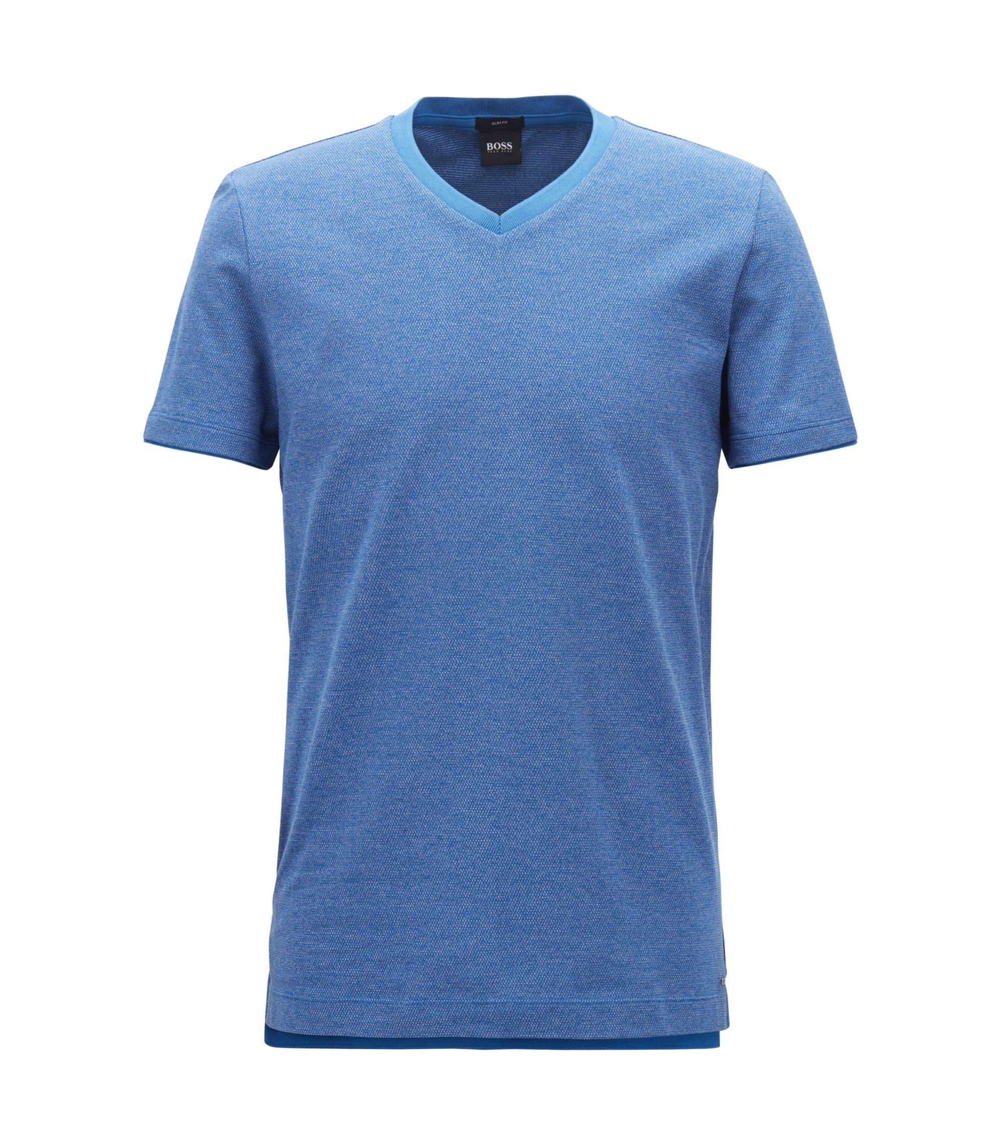 T-shirt à col V en coton mouliné tissé-teint, Bleu