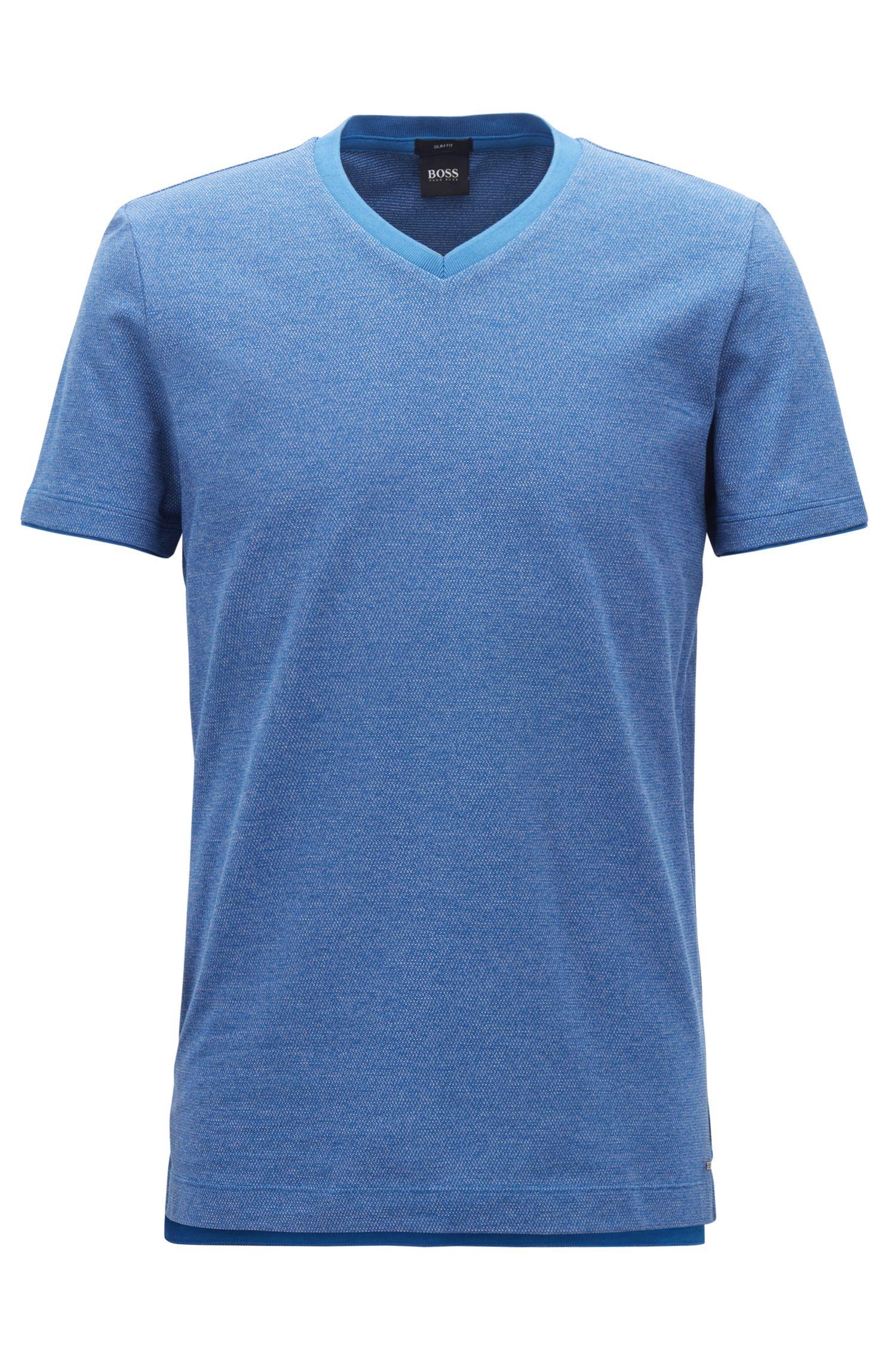 T-shirt van garengeverfde moulinékatoen met V-hals, Blauw