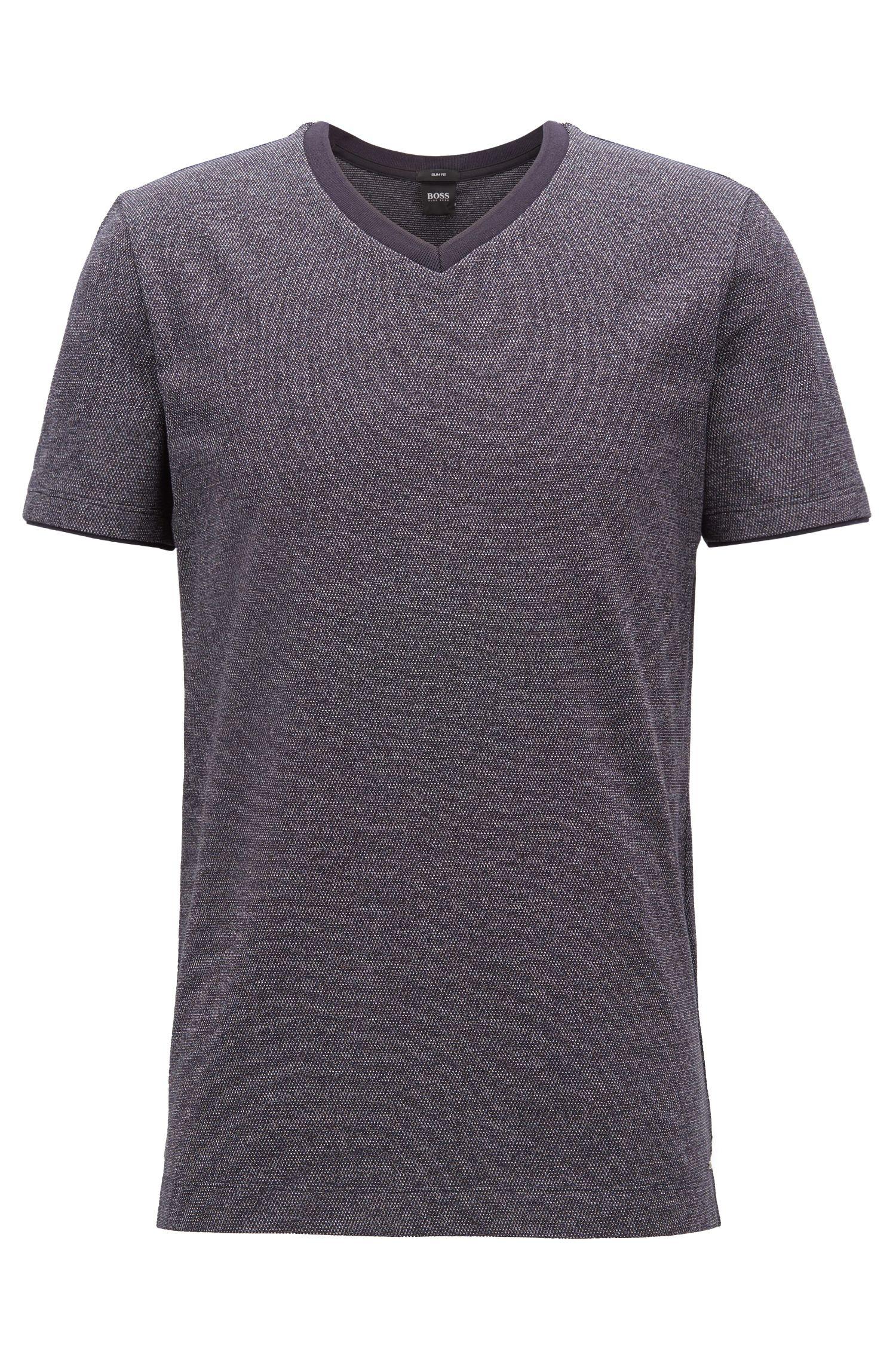 T-Shirt aus garngefärbter Mouliné-Baumwolle mit V-Ausschnitt, Blau