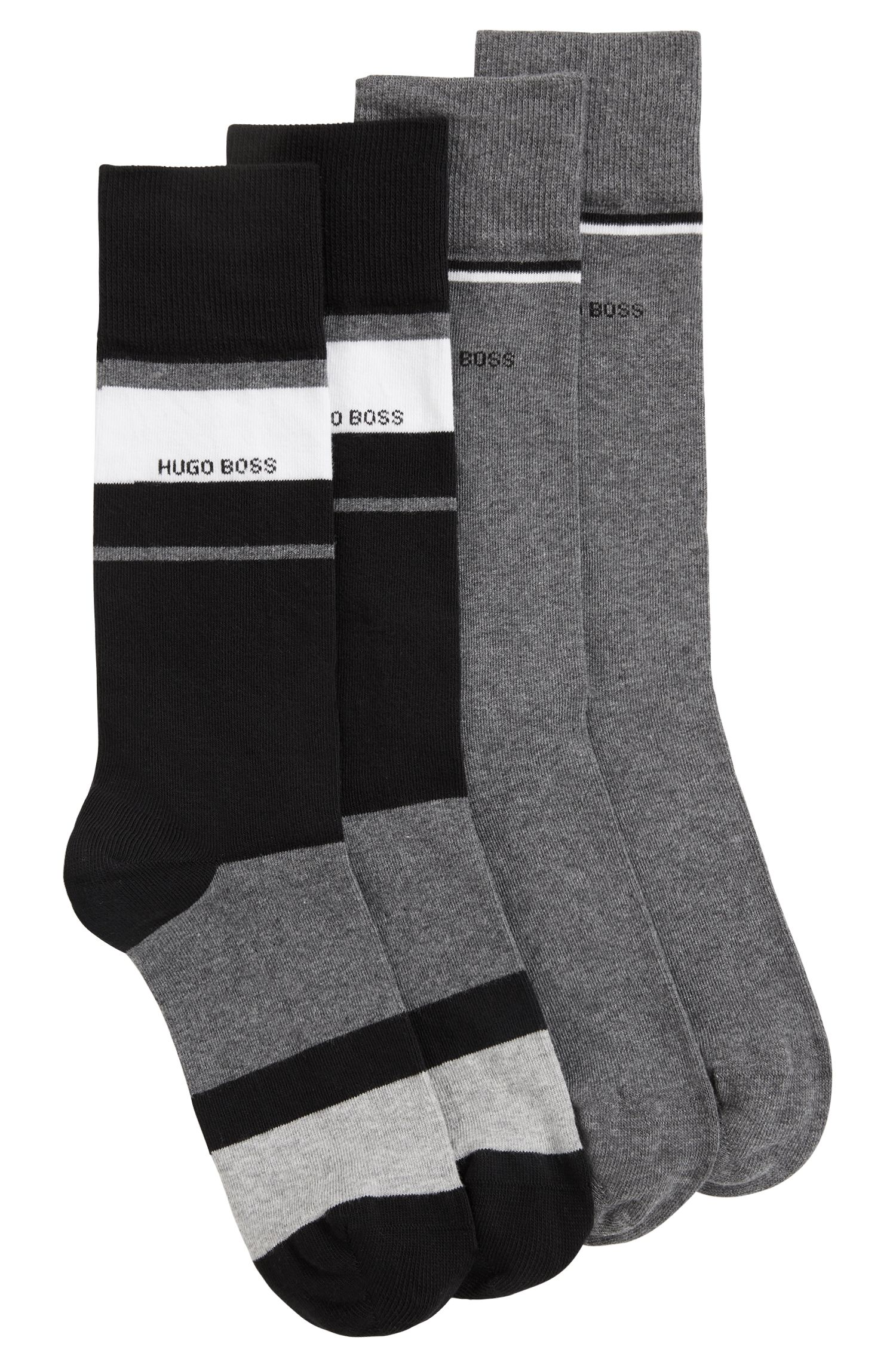 Two-pack of regular-length socks with stripe detailing, Black