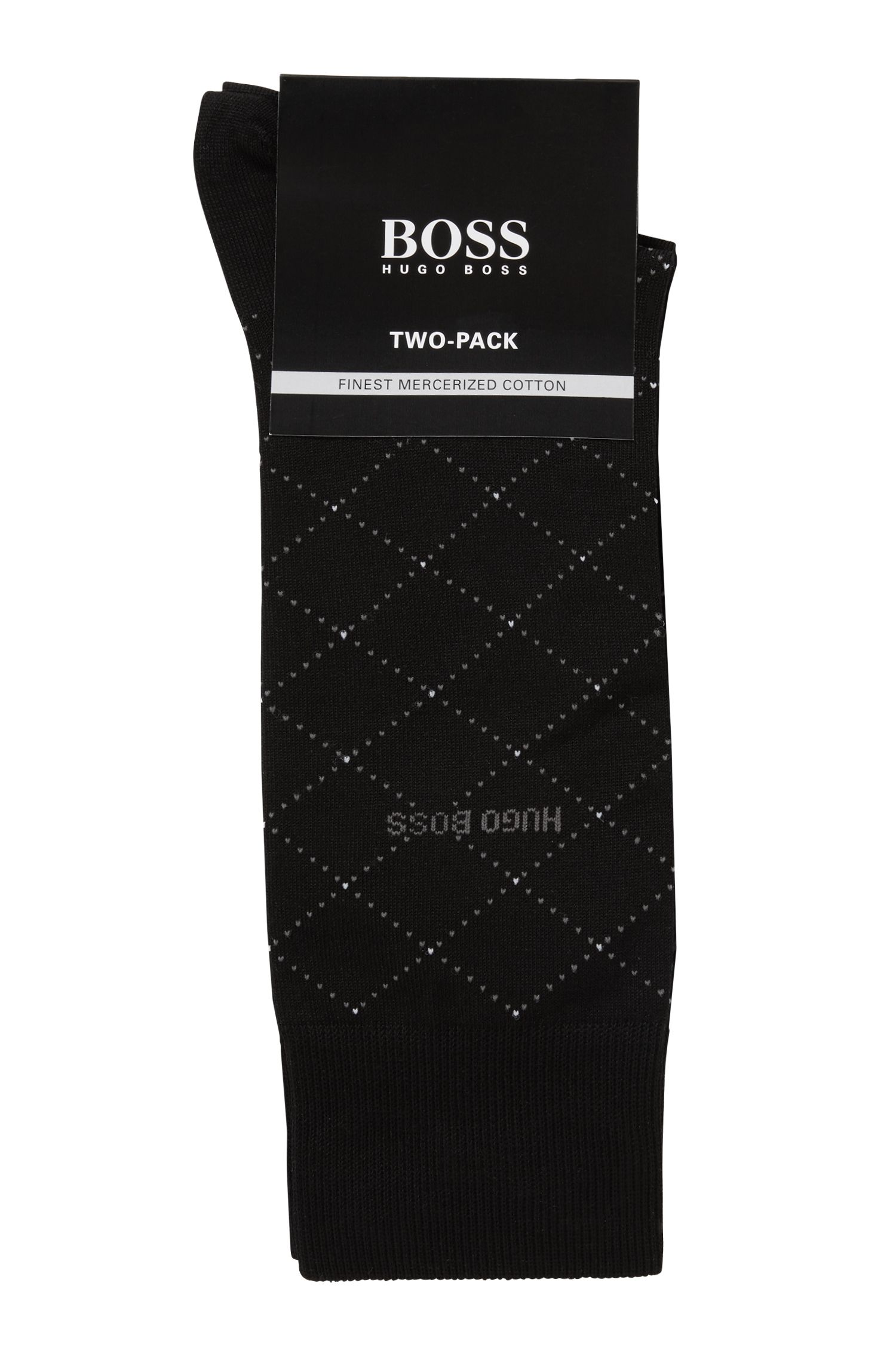 Two-pack of socks in a mercerised cotton blend, Black