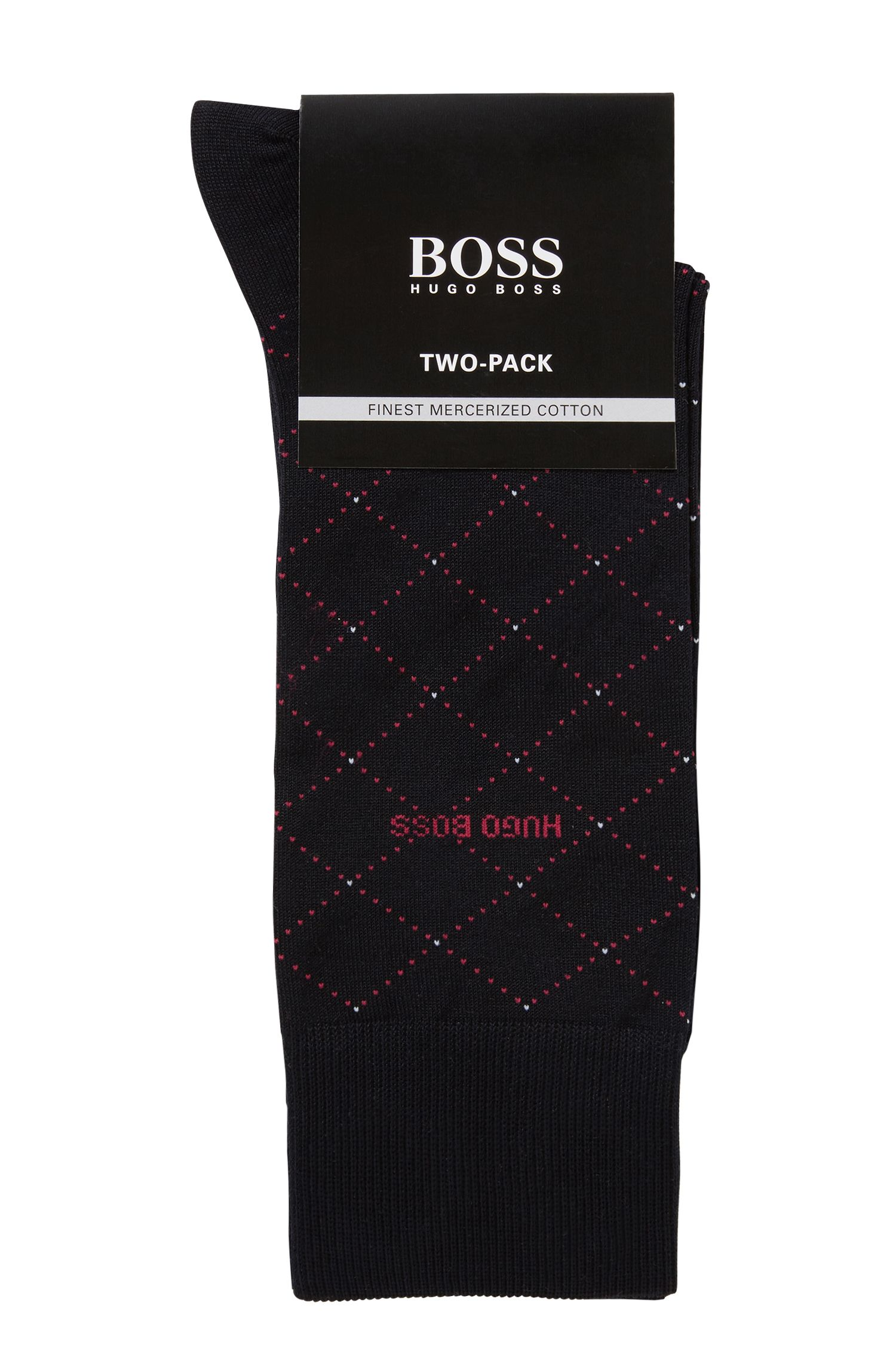 Two-pack of socks in a mercerised cotton blend, Dark Blue