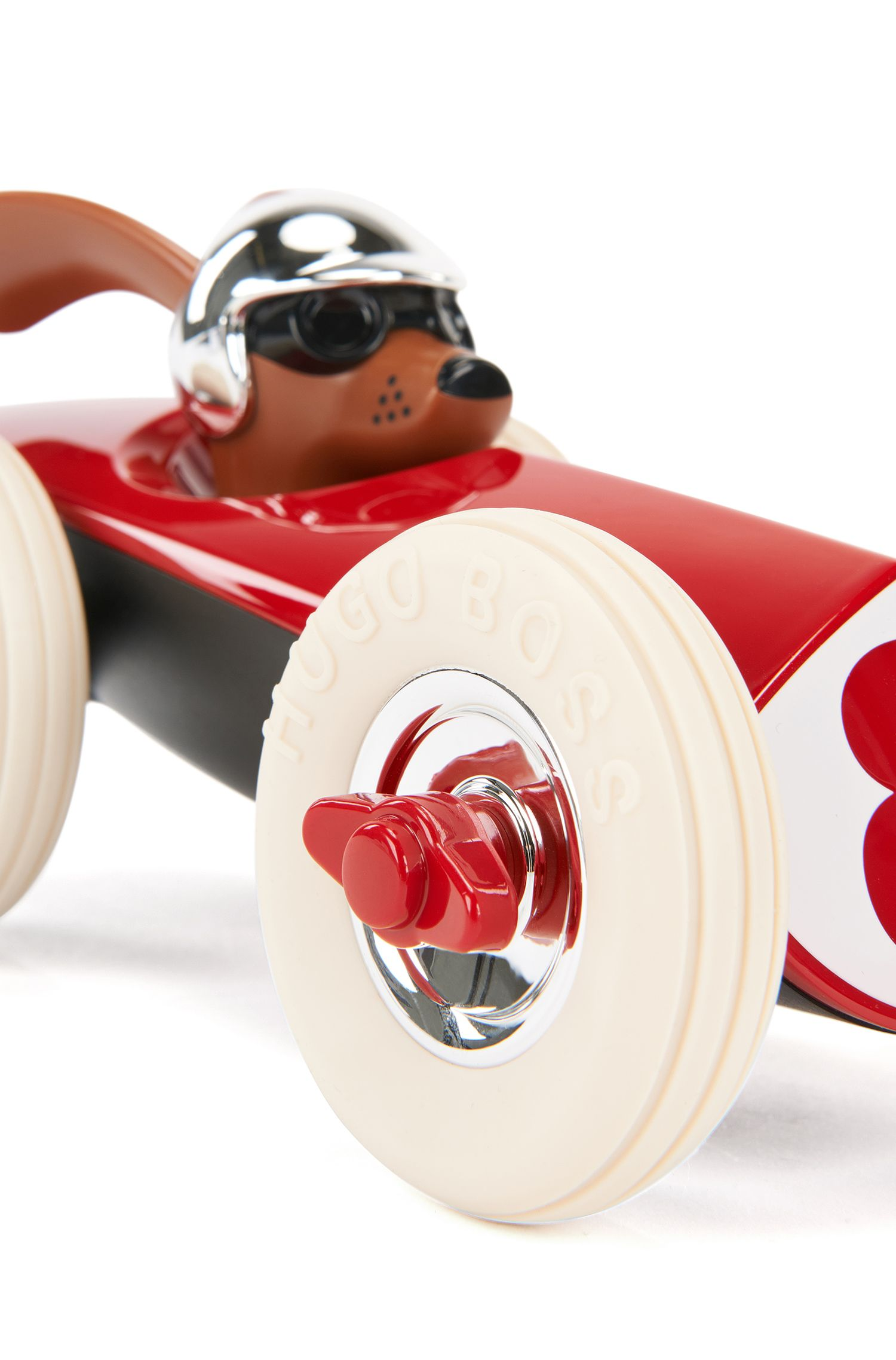 Model race car with glossy hand-polished finish