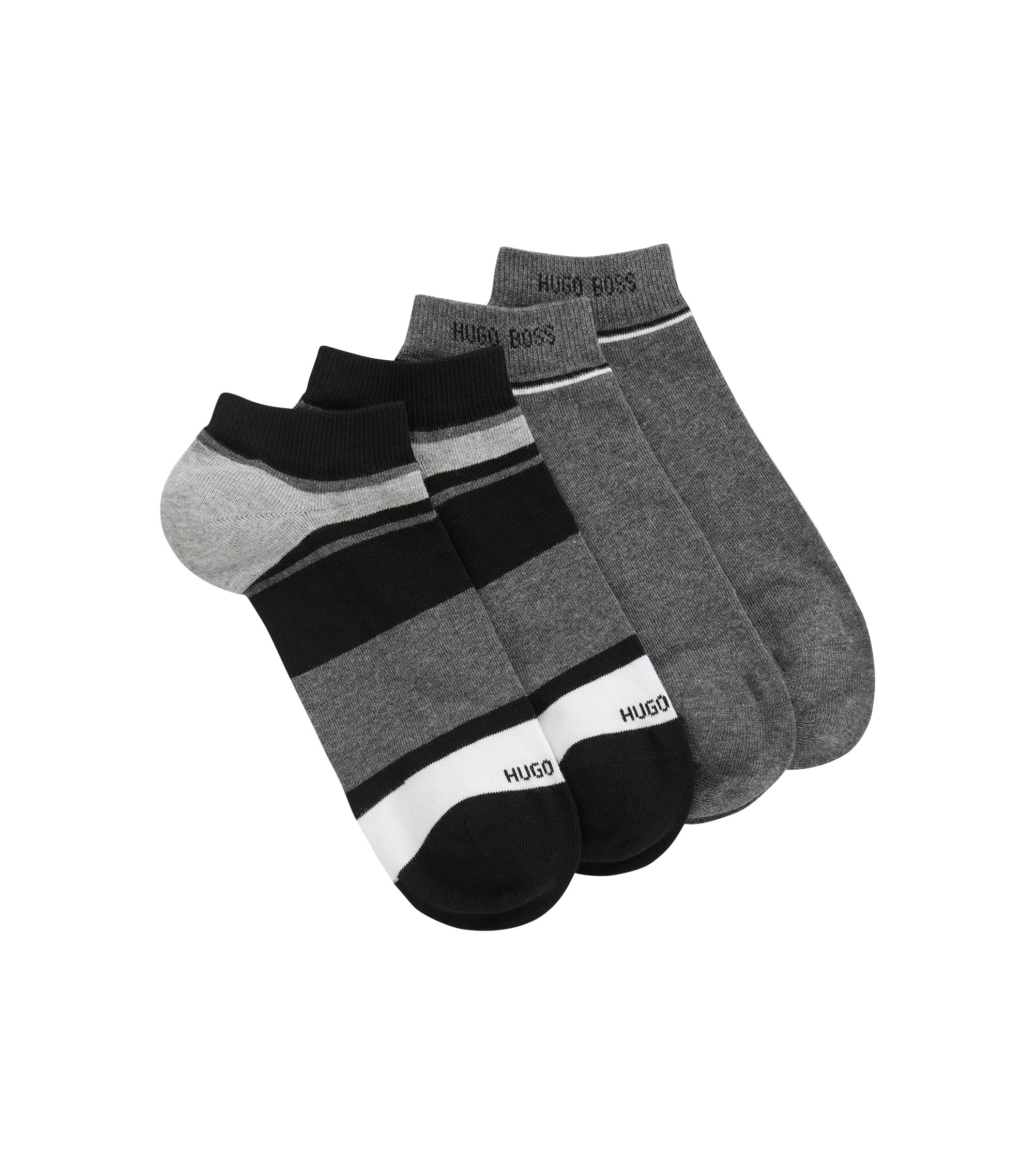Two-pack of striped cotton blend ankle socks, Black