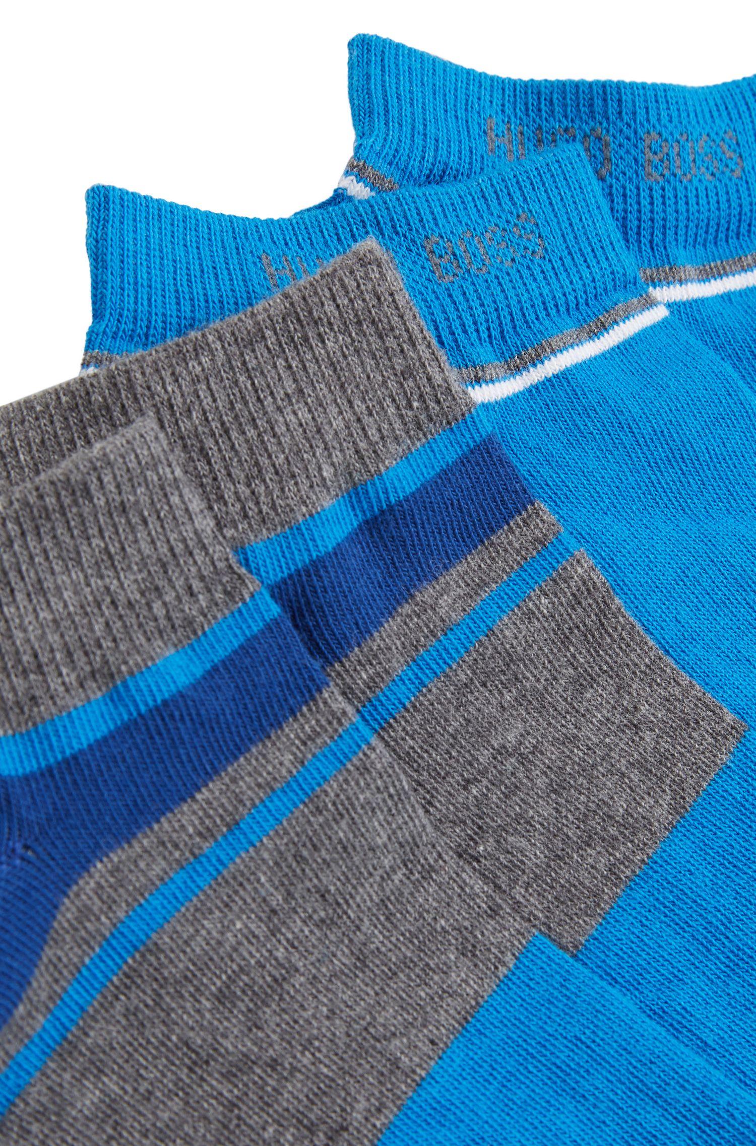 Zweier-Pack Sneaker-Socken aus Baumwoll-Mix mit Streifen-Dessin, Grau