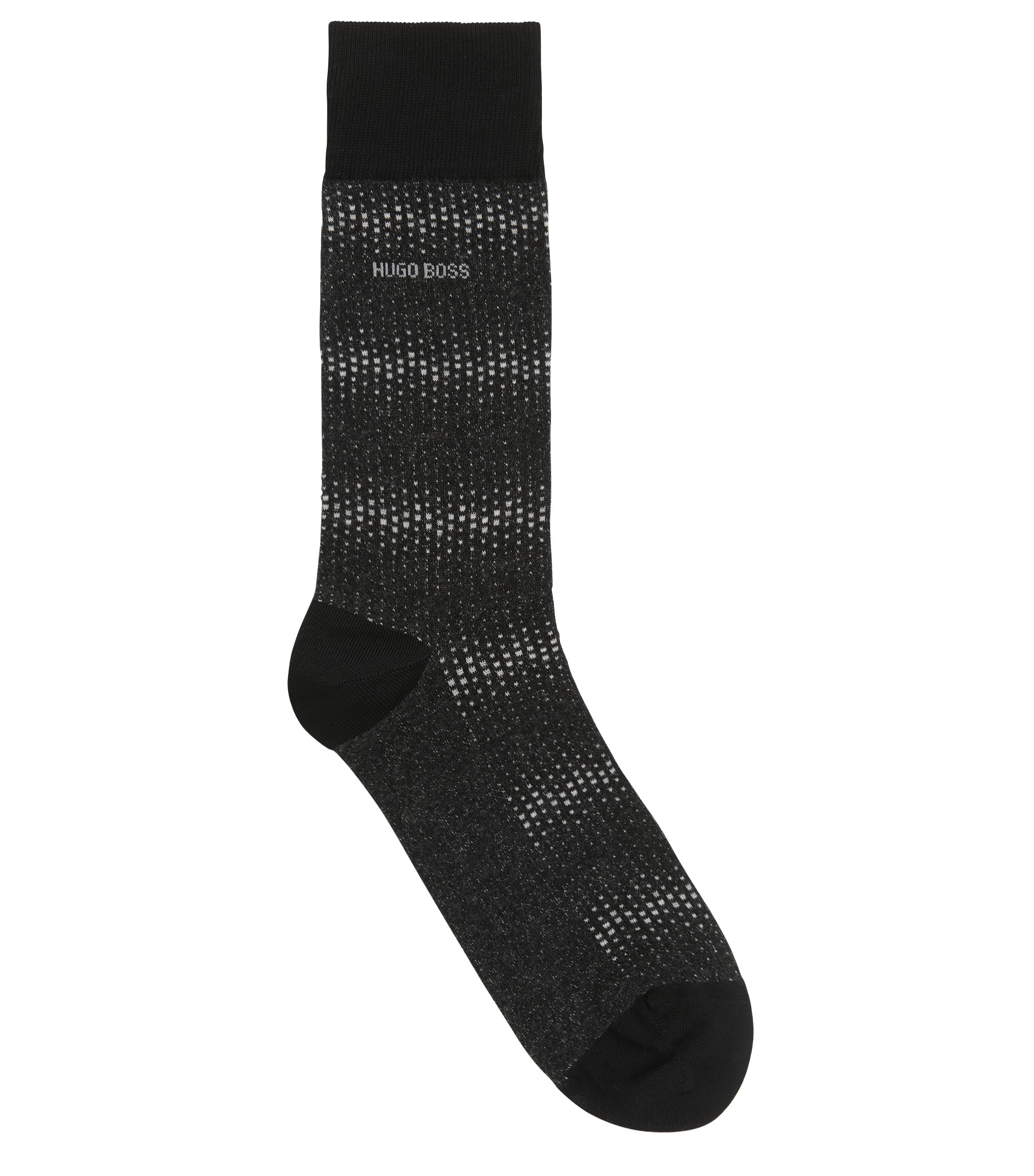 Micro-pattern socks in mercerised stretch cotton, Black