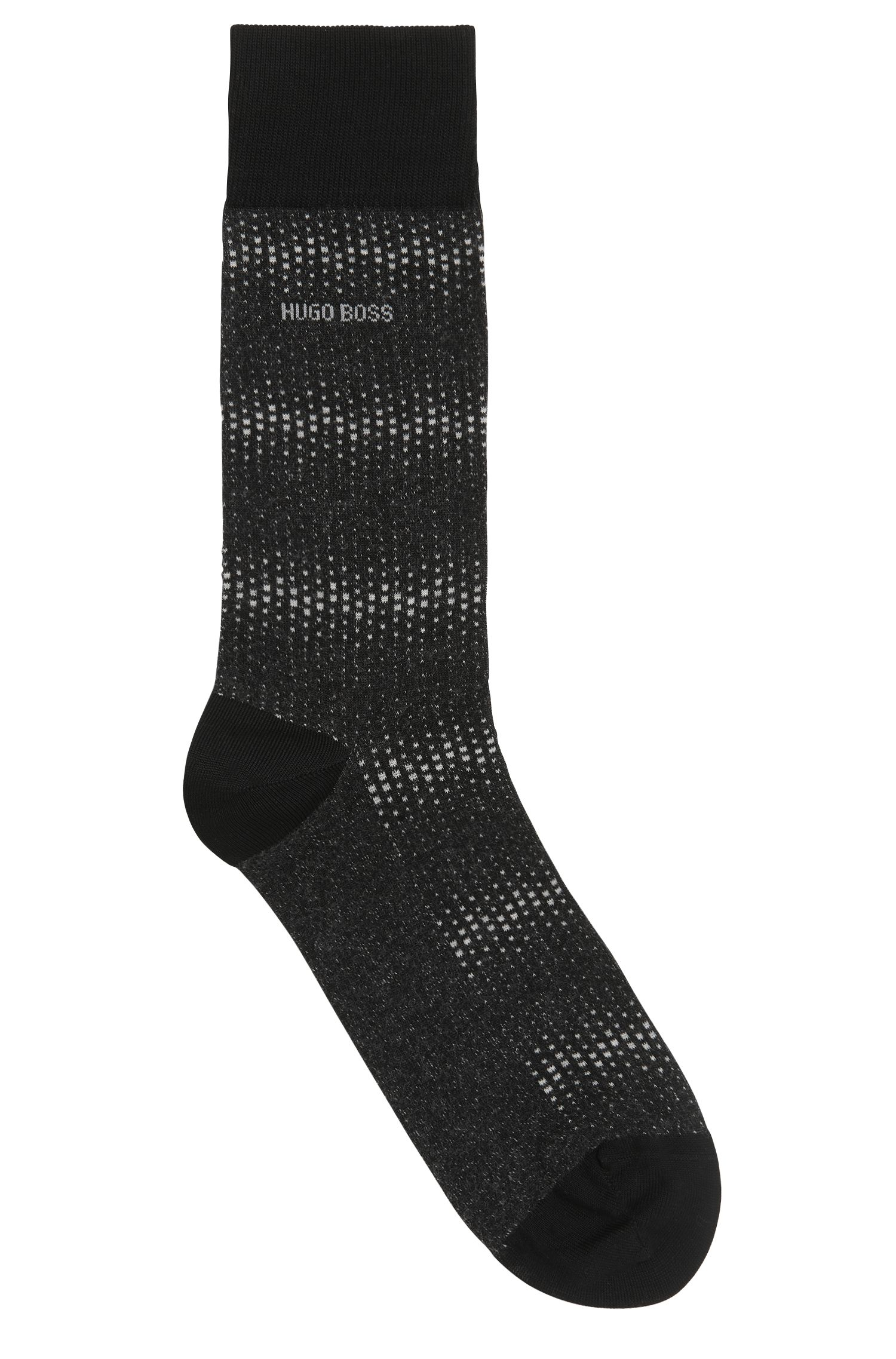 Micro-pattern socks in mercerised stretch cotton