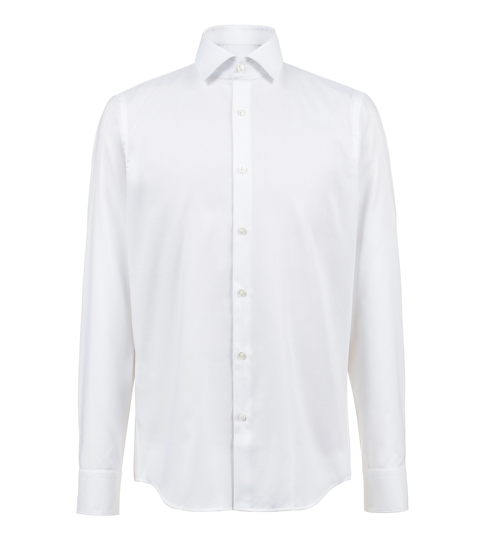 Regular-fit shirt in cotton with easy-iron finish, Open White