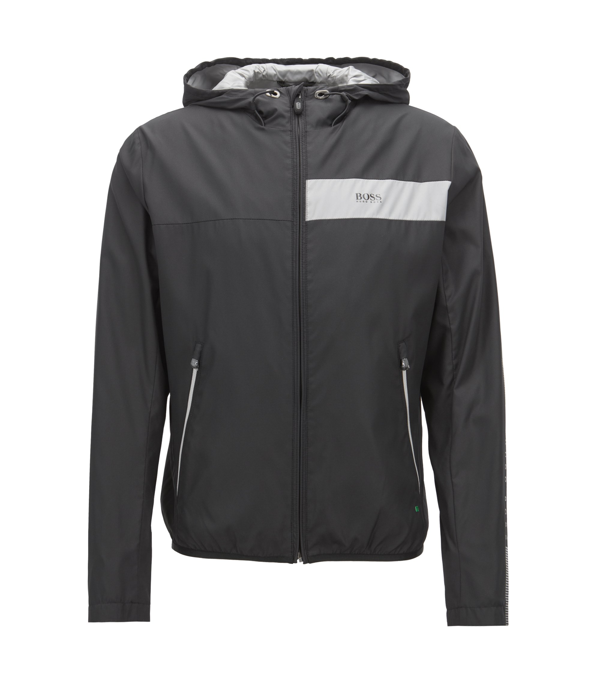 Water-repellent jacket in lightweight fabric with logo details, Black