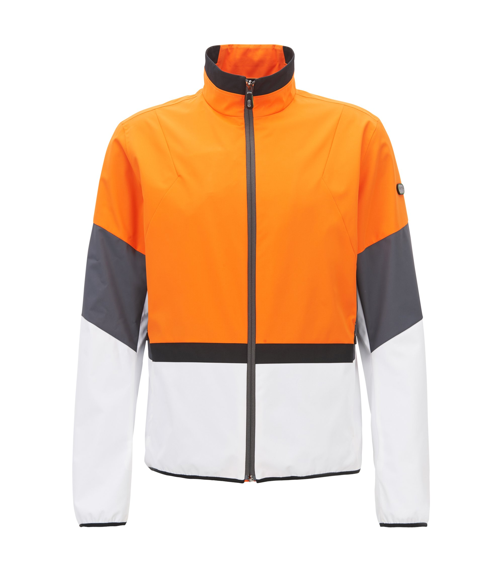 Water-repellent packable jacket with electromagnetic-waves blocker, Orange