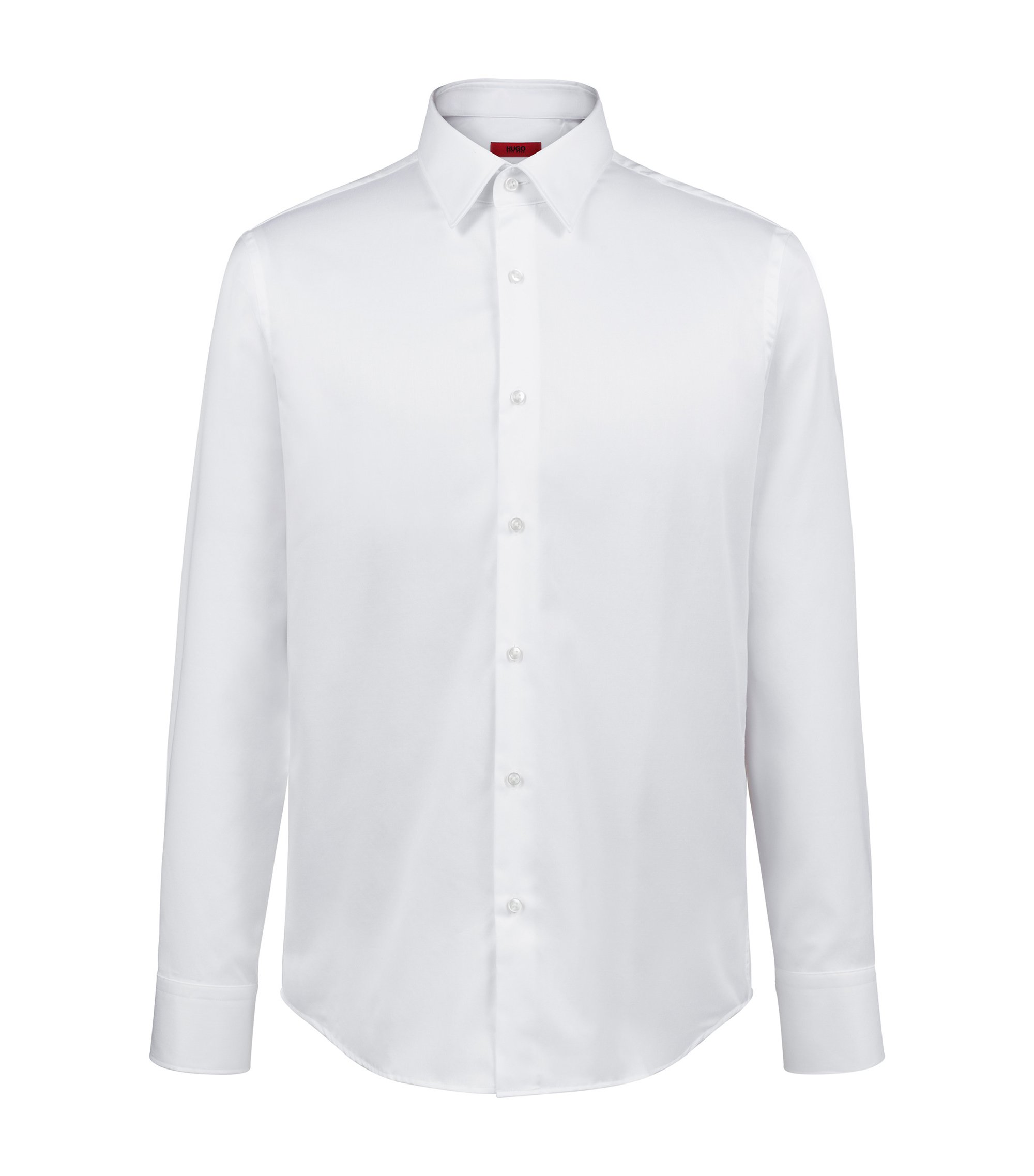Camicia regular fit in twill di cotone a righe diagonali, Bianco