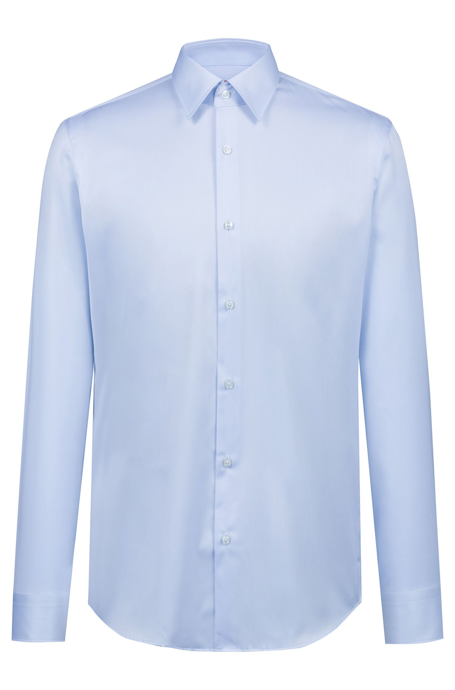 Camicia regular fit in twill di cotone a righe diagonali, Celeste