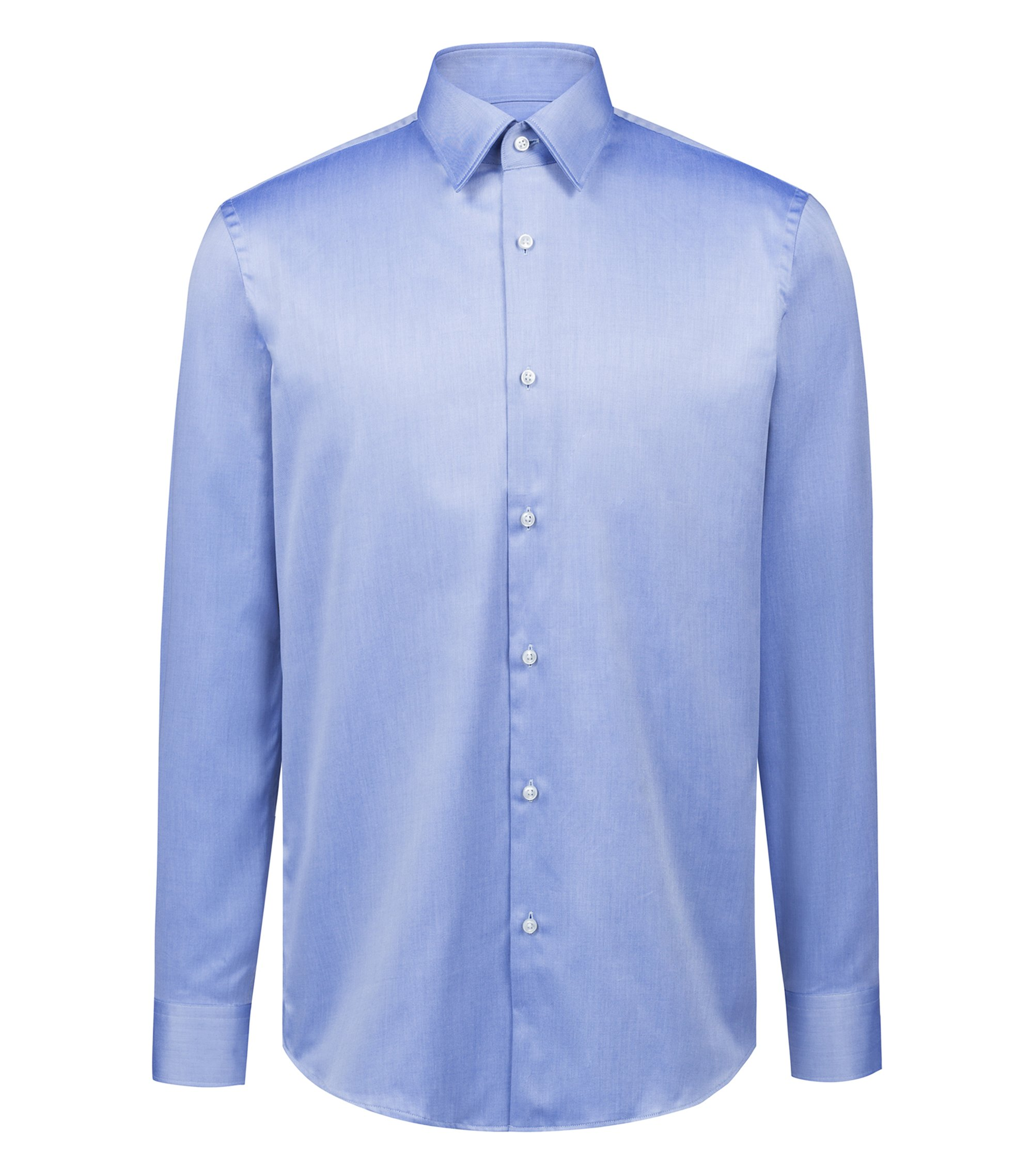 Regular-fit shirt in diagonal-striped cotton twill, Open Blue