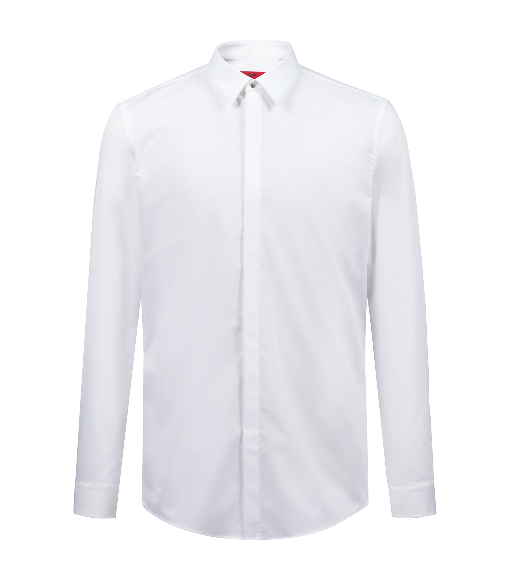 Slim-fit cotton poplin shirt with Kent collar, Open White