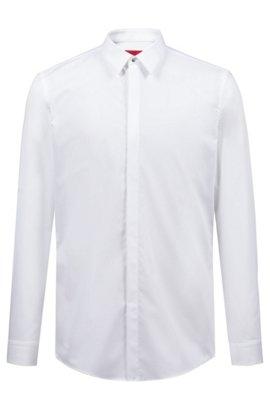d09c0b0f7bb111 Camicia slim fit in popeline di cotone con colletto stile Kent, Bianco. Acquisto  rapido