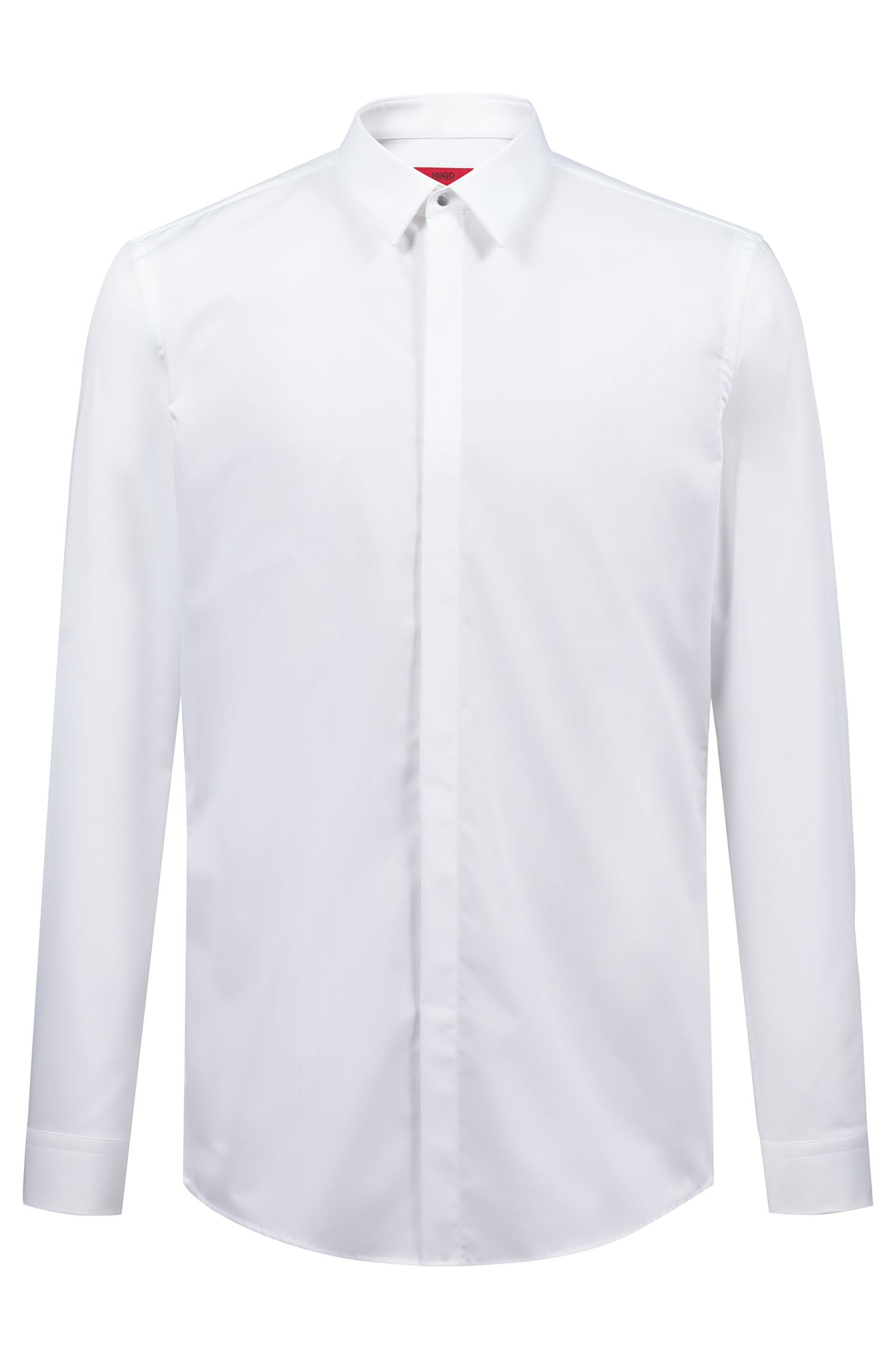 Slim-fit cotton poplin shirt with Kent collar