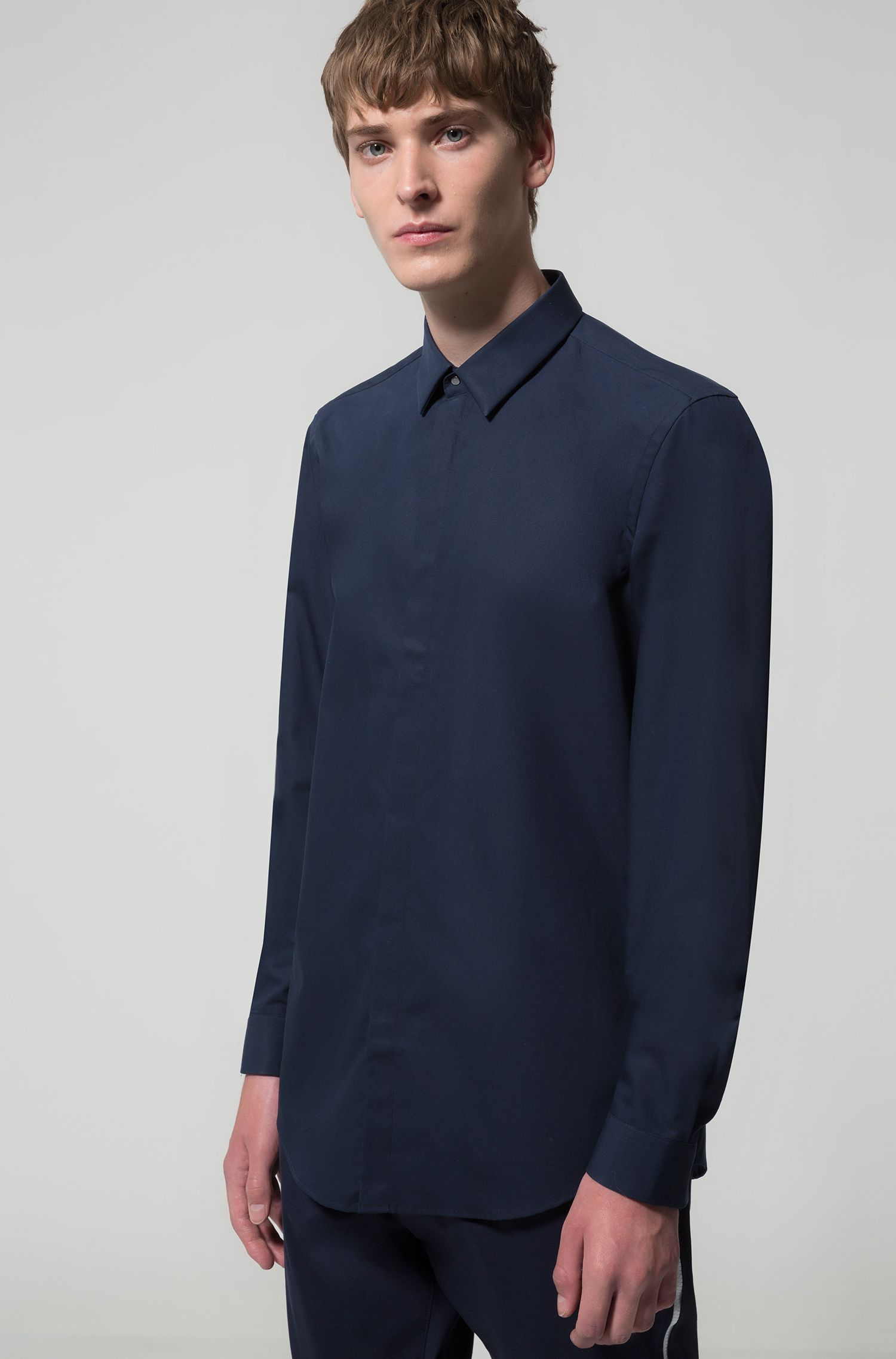 Slim-fit cotton poplin shirt with Kent collar, Dark Blue