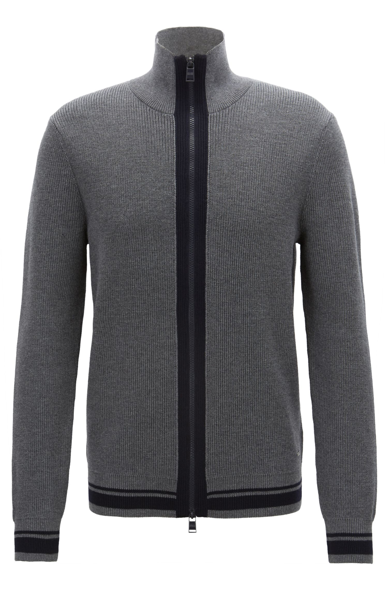 Zip-through knitted jacket in mulesing-free merino wool, Grey