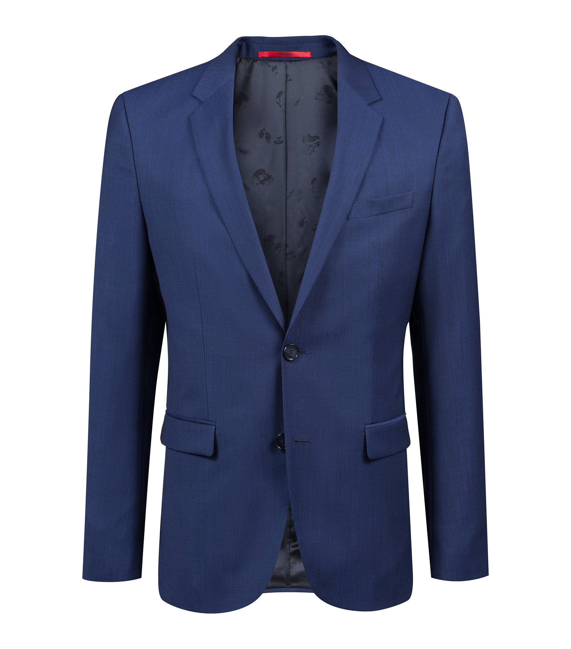 Extra-slim-fit blazer in micro-structure virgin wool, Dark Blue