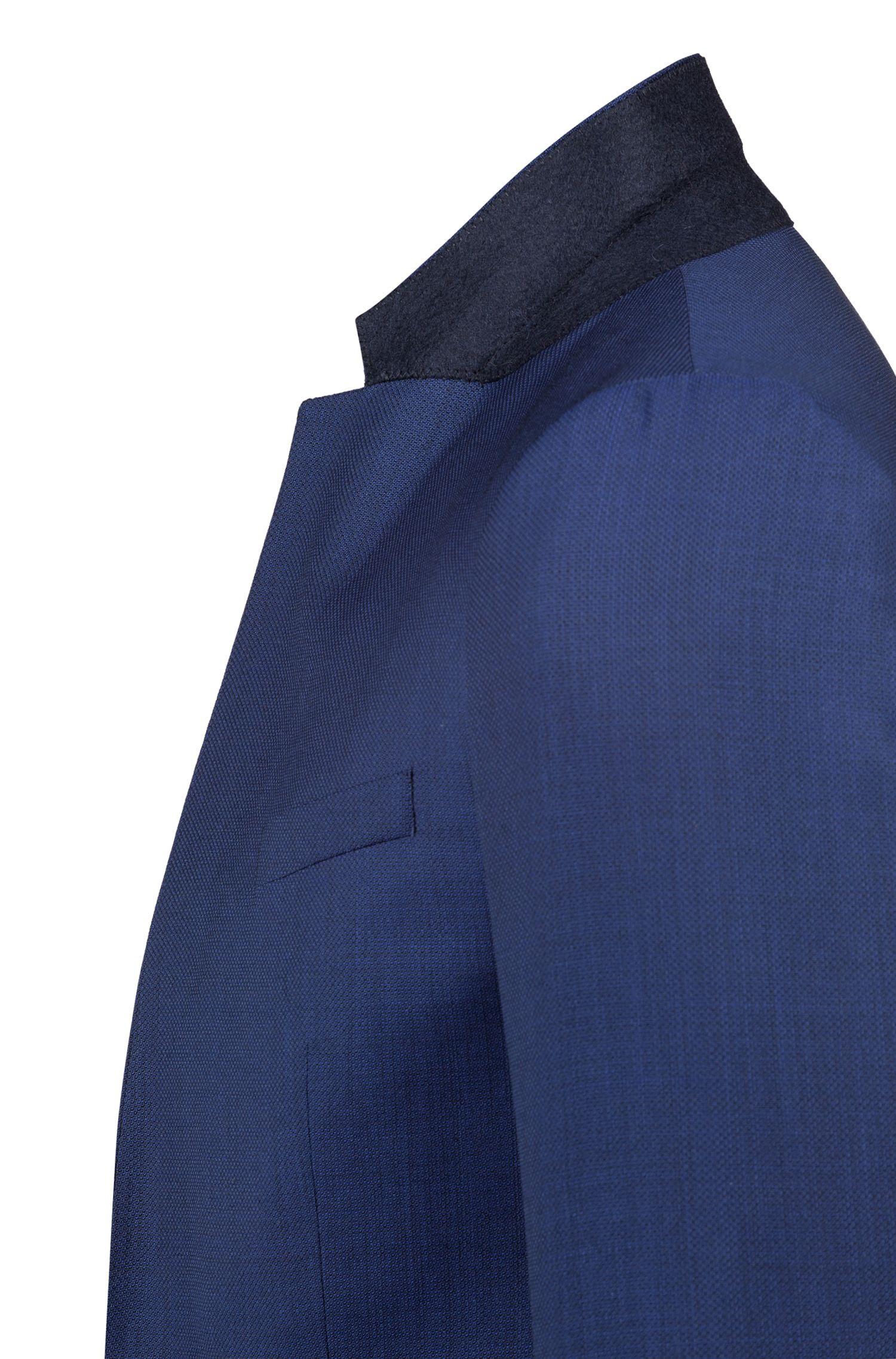 Blazer Extra Slim Fit en laine vierge micro-structurée, Bleu foncé