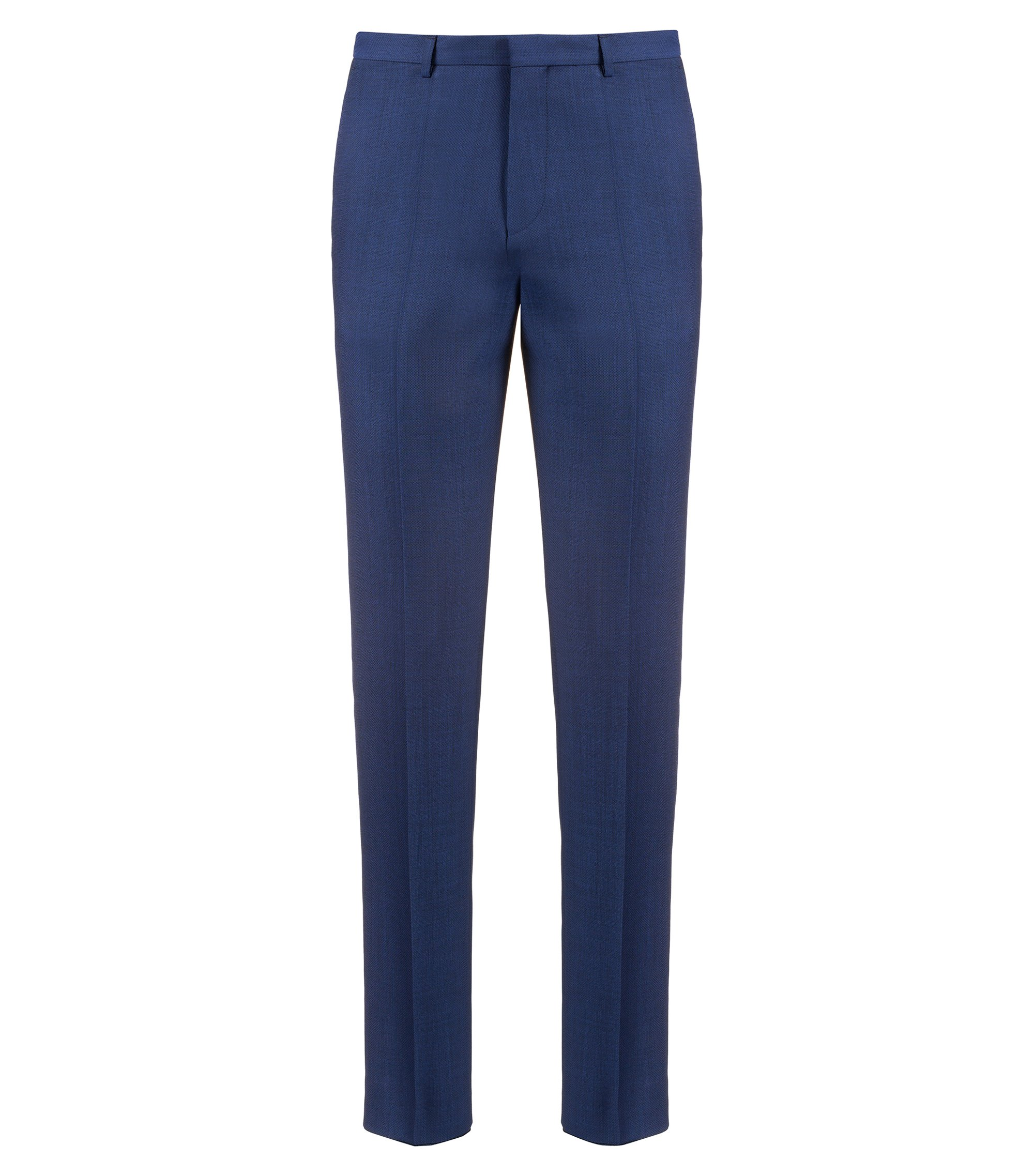Extra-slim-fit virgin-wool trousers with micro structure, Dark Blue