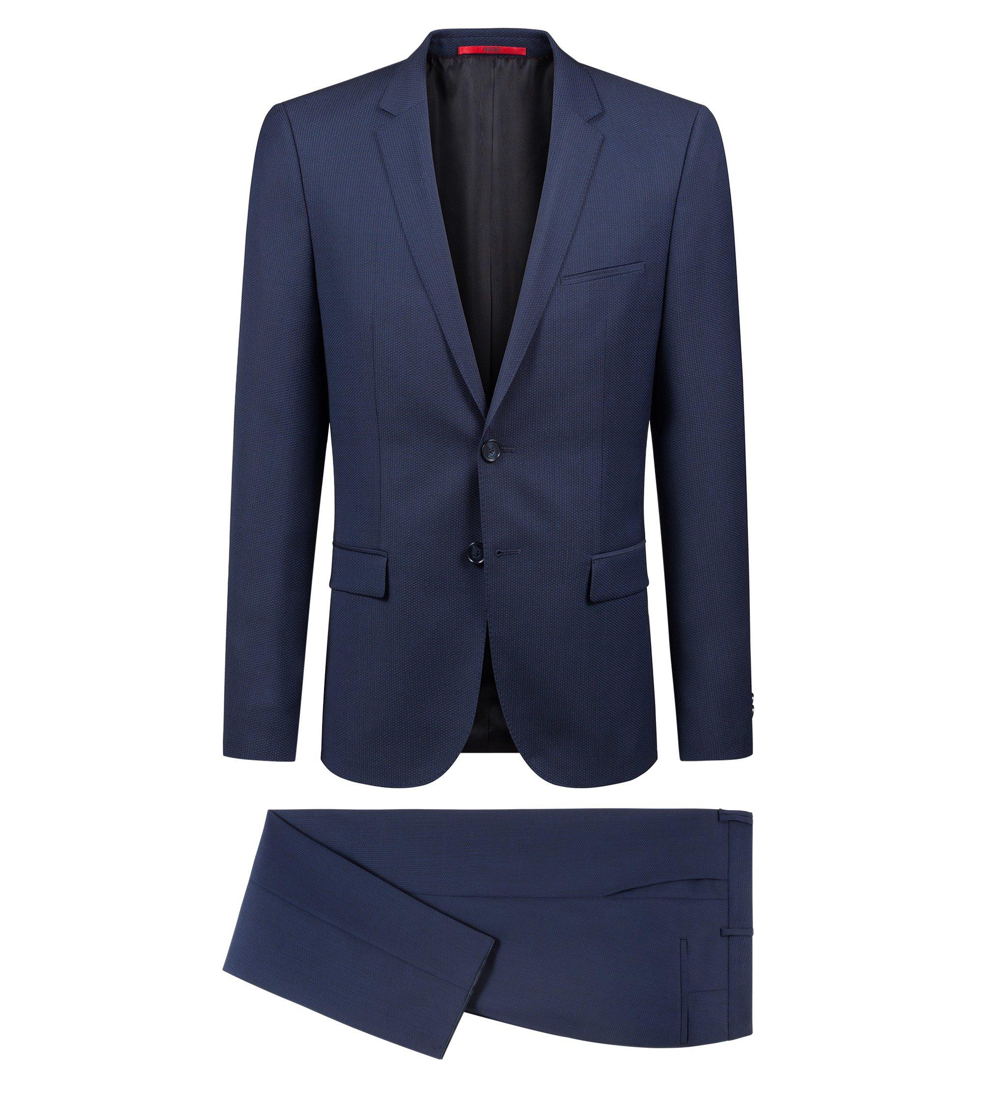 Extra slim-fit kostuum van scheerwol met geweven patroon, Donkerblauw
