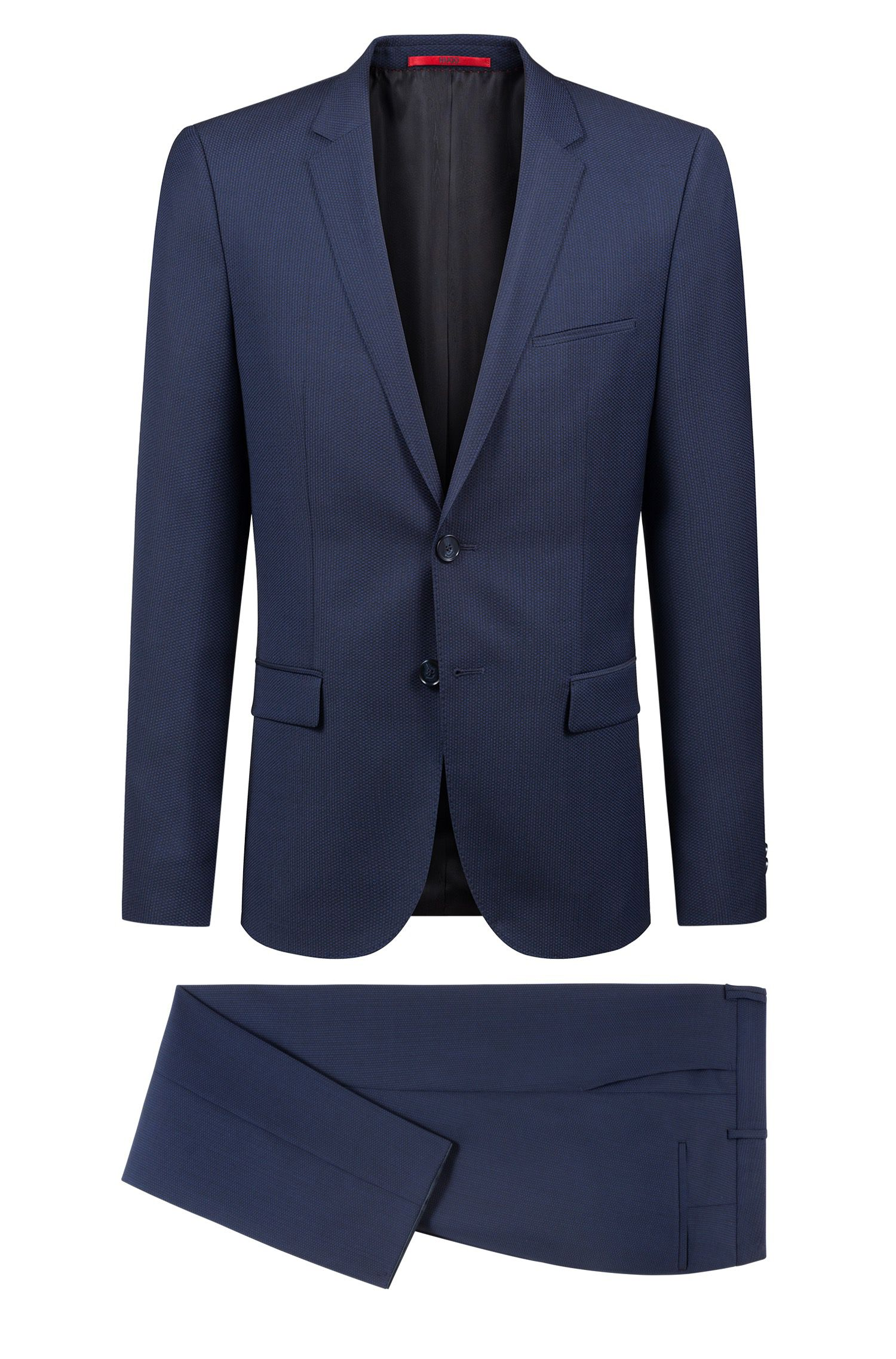 Extra-slim-fit virgin-wool suit with woven pattern